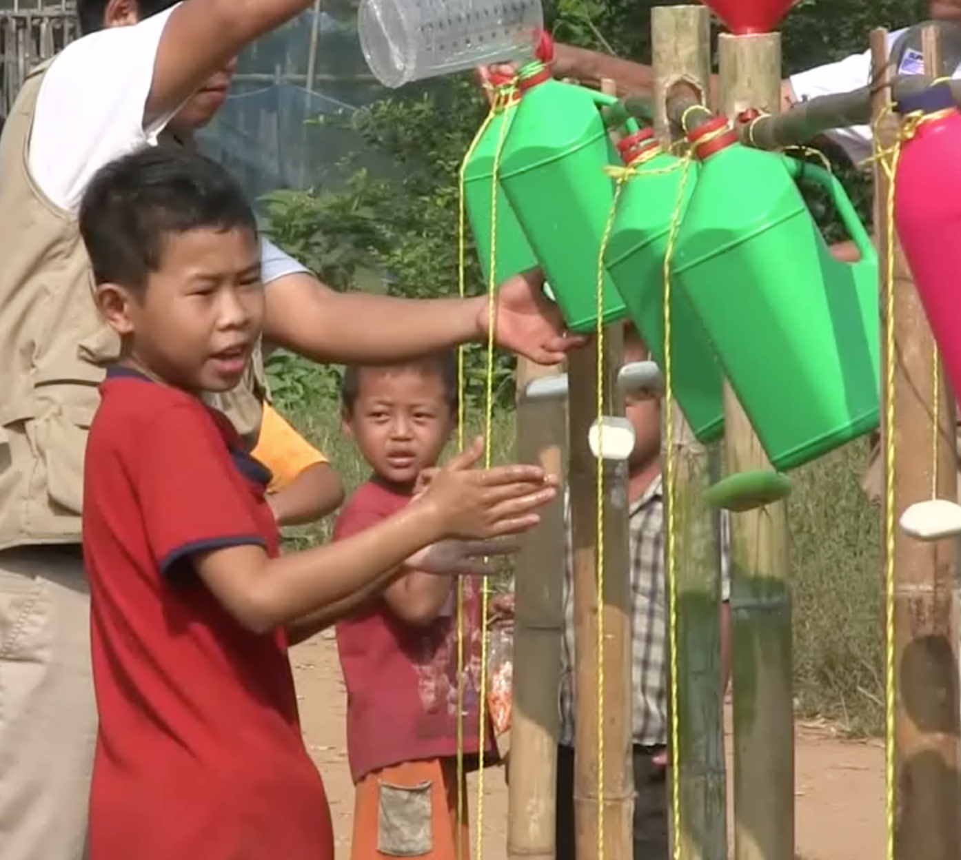 TIPPY TAP   A short film which encourages  hand washing  through the creation of a 'tap' made of household rubbish.