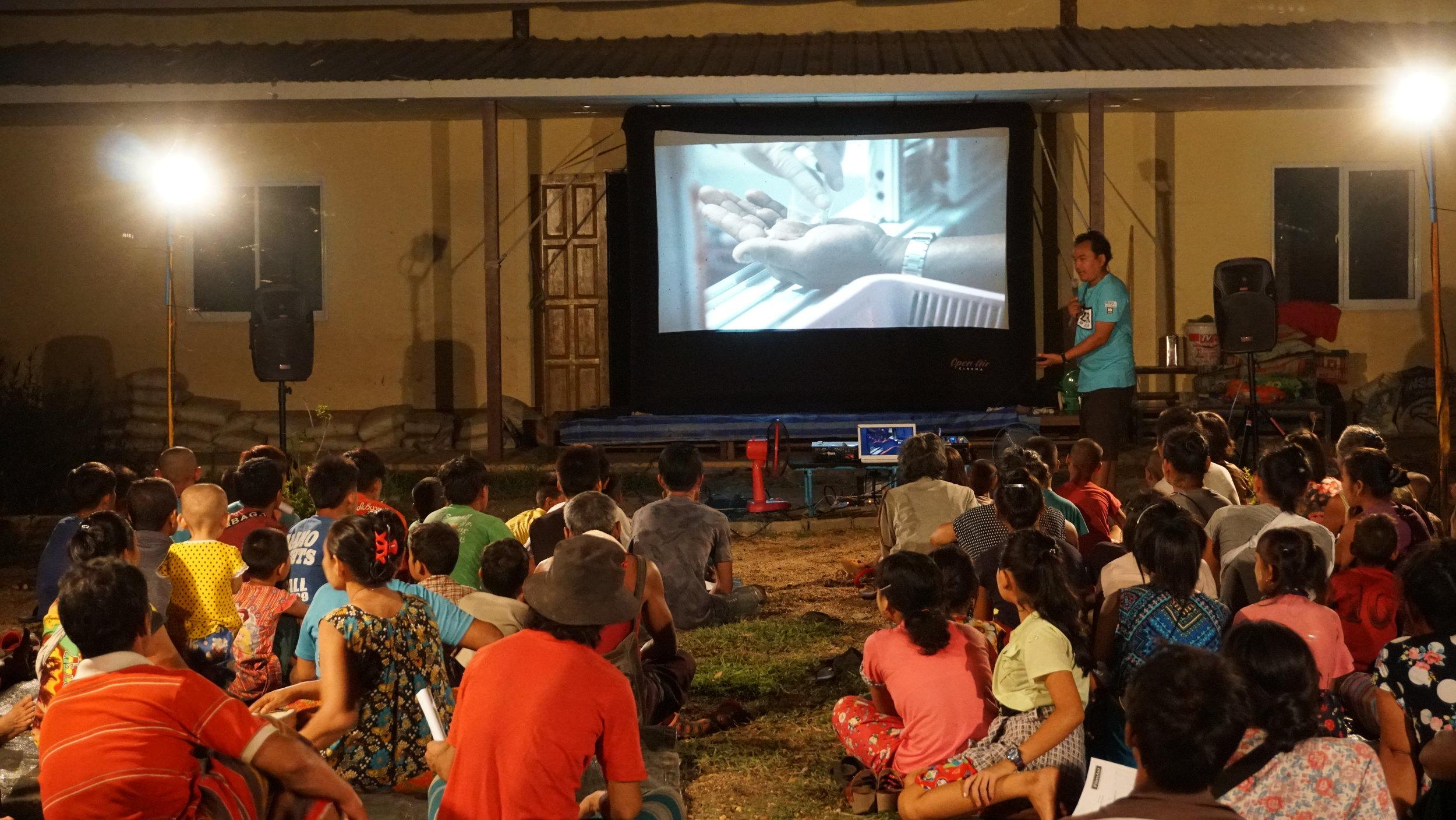 Evening screening in Htee Law Shu village