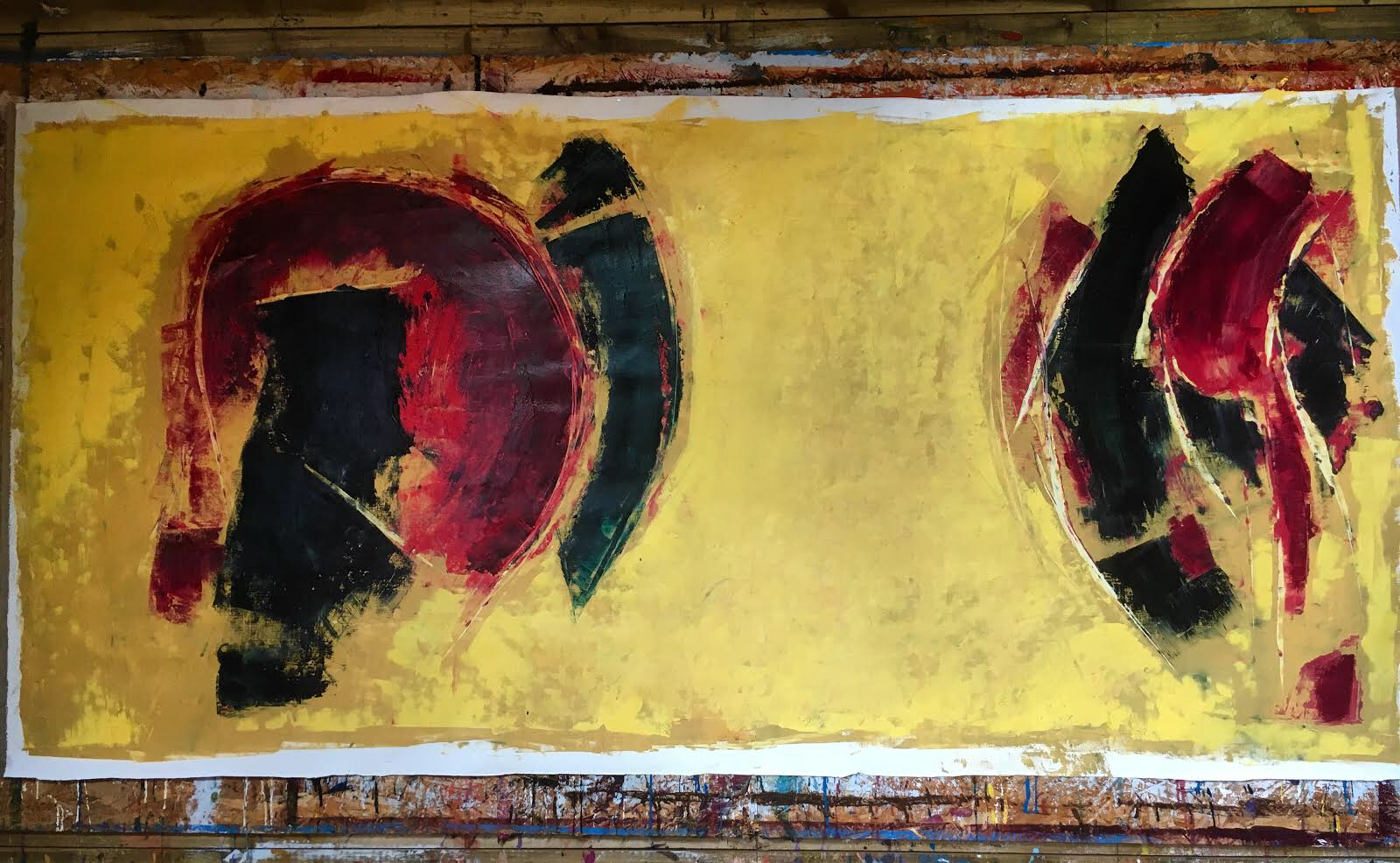 Face off, 100 x 250 cm approx. on unstretched linen, oil and cold wax.