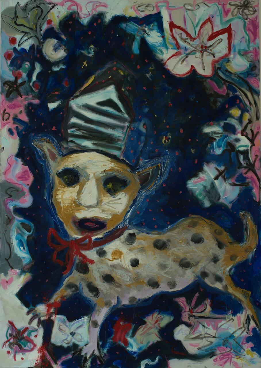 Twilight Zone. Oil, acrylic, wax crayon on canvas. 170 x 120 cm. 2017 - 2018.