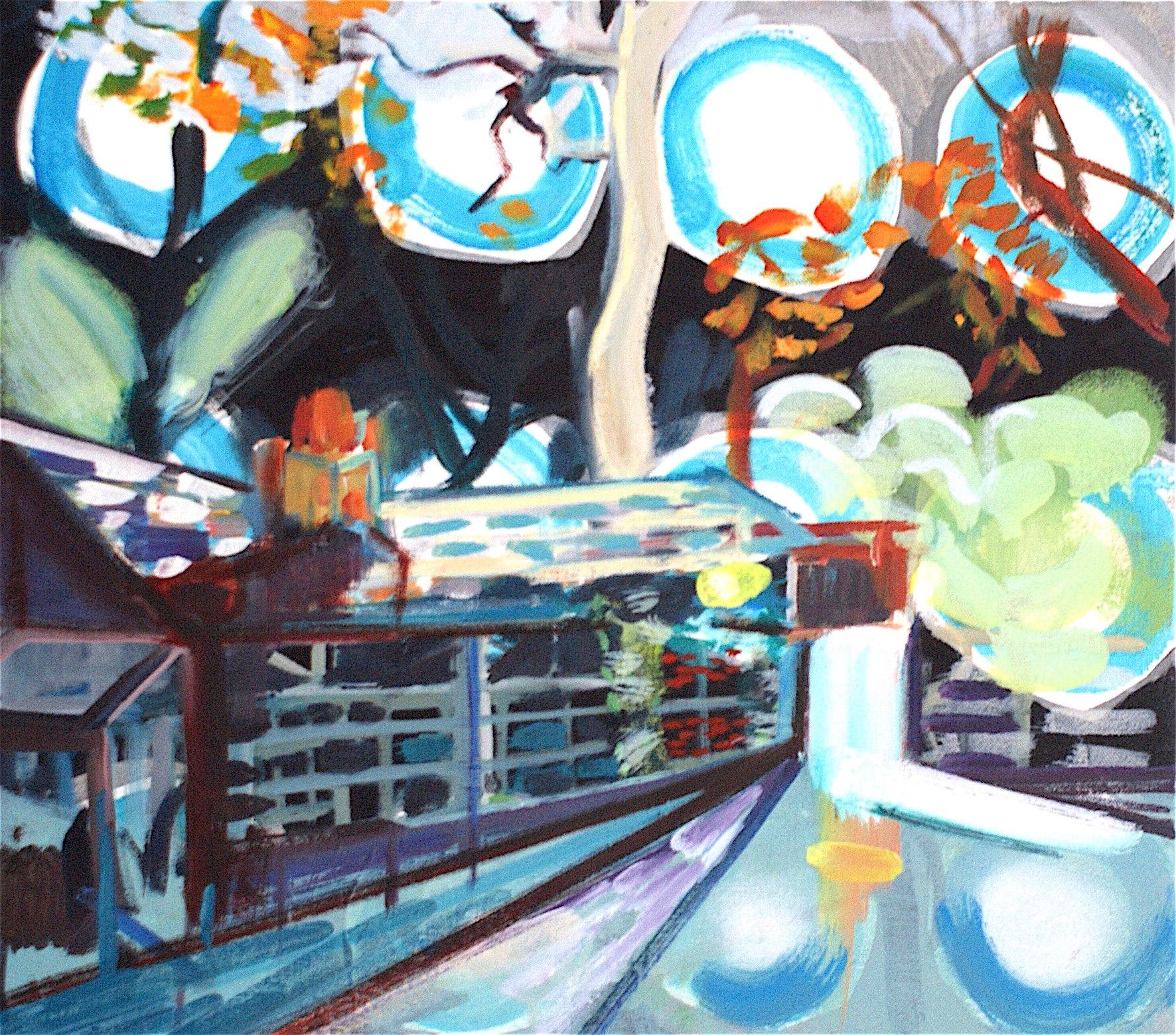 Roadside Tavern (Moonlight ) , oil on canvas, 40 x 46 cm (2018)