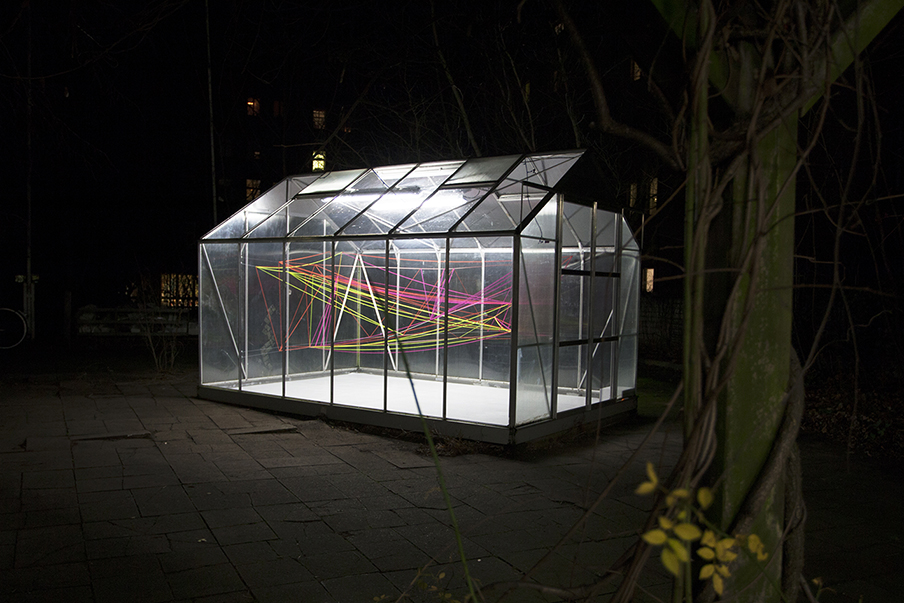 Day, Night, Light, 2013  super bien!  Greenhouse for Contemporary Art, Berlin  fluorescent orange, pink and yellow wool, translucent string, various dimensions