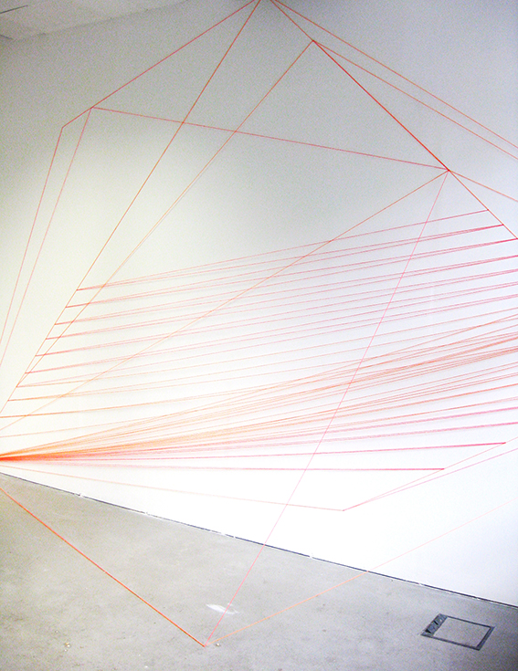Spatial Structures, 2013 The WYE Platform Gallery, Berlin  fluorescent orange and pink wool and nails, various dimensions