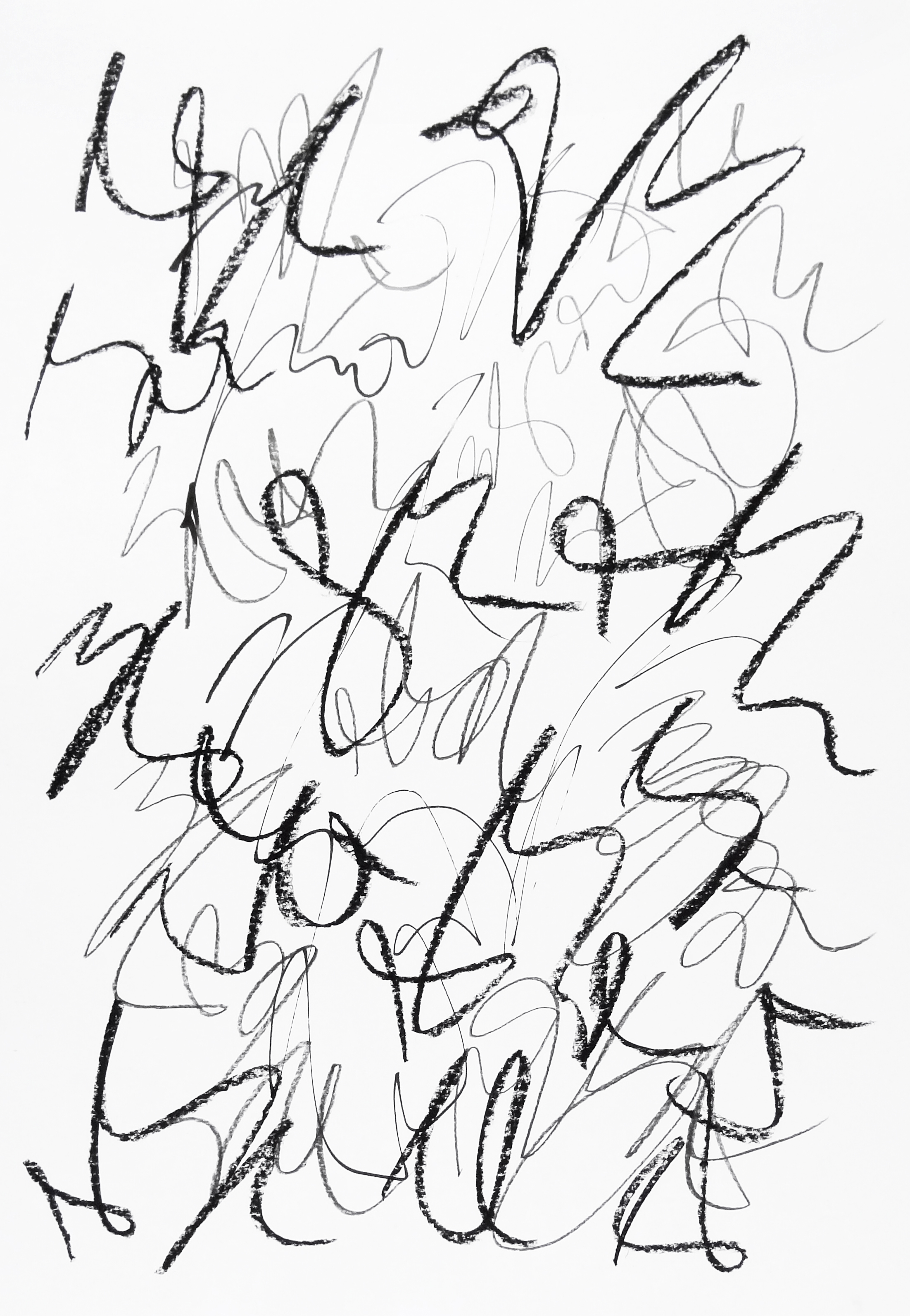 rhythm and flow studies, 2019 calligraphy ink, pencil and chalk on paper 42,0 x 29,7 cm (13-19)