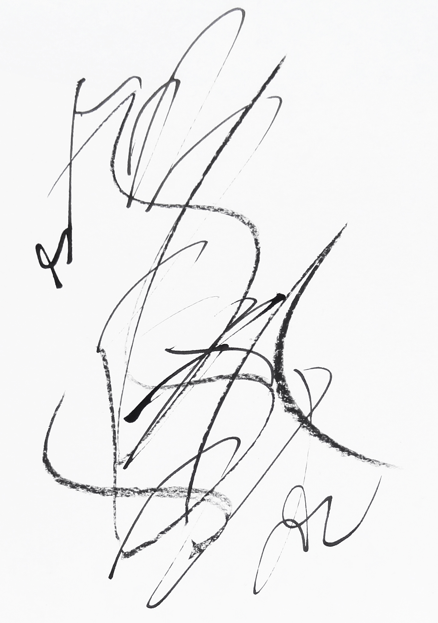 rhythm and flow studies, 2019 calligraphy ink and chalk on paper 42,0 x 29,7 cm (16-19)