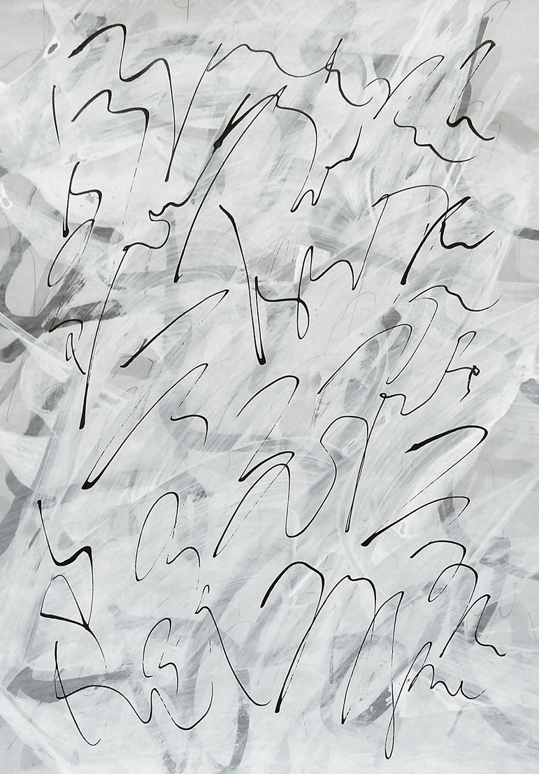 Untitled, 2019 calligraphy ink on hand tinted paper 42,0 x 29,7 cm (19-19)