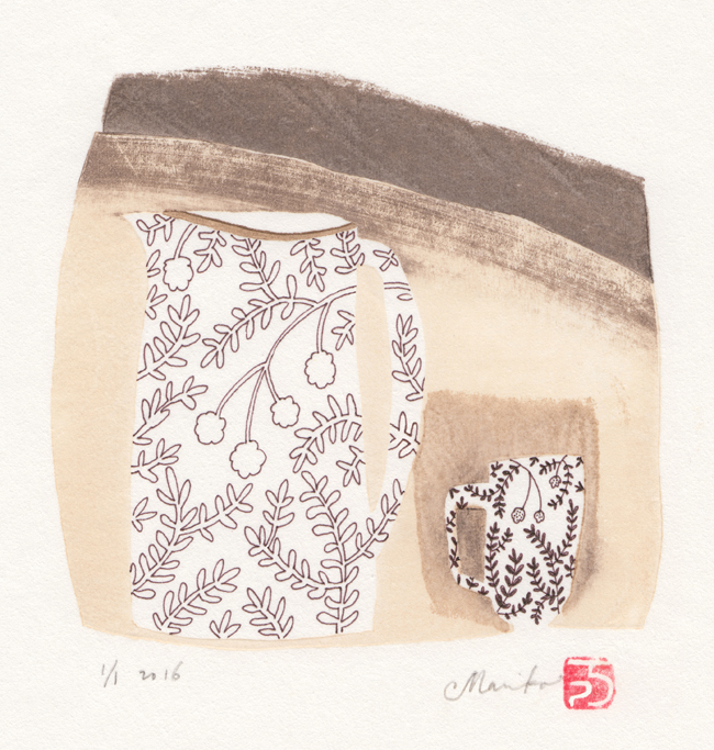 jug and mug (light) – mokuhanga with ink