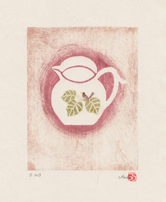 round jug – mokuhanga with hand-colouring