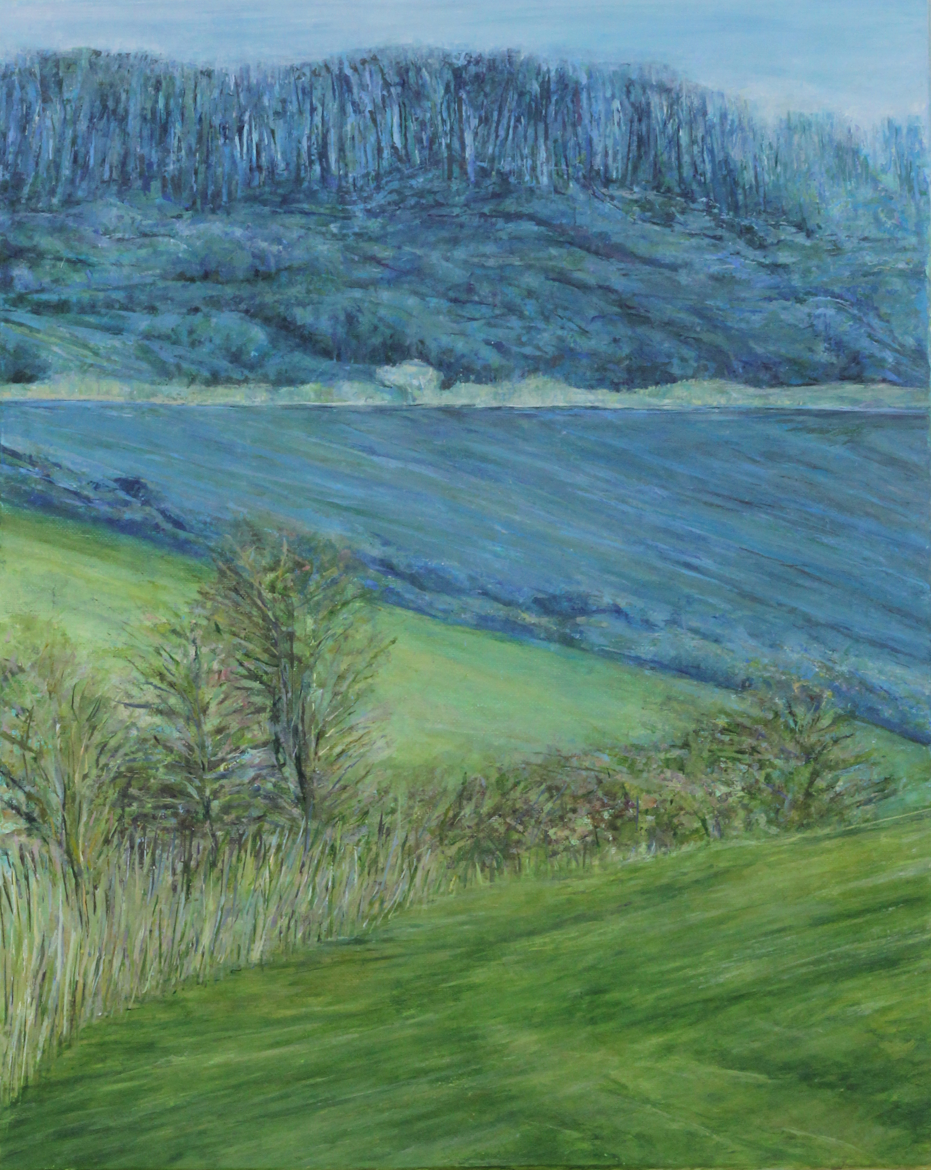 Fields near Cissbury Ring - Oil pastel and acrylic paint on canvas50cm x 40cmSOLD