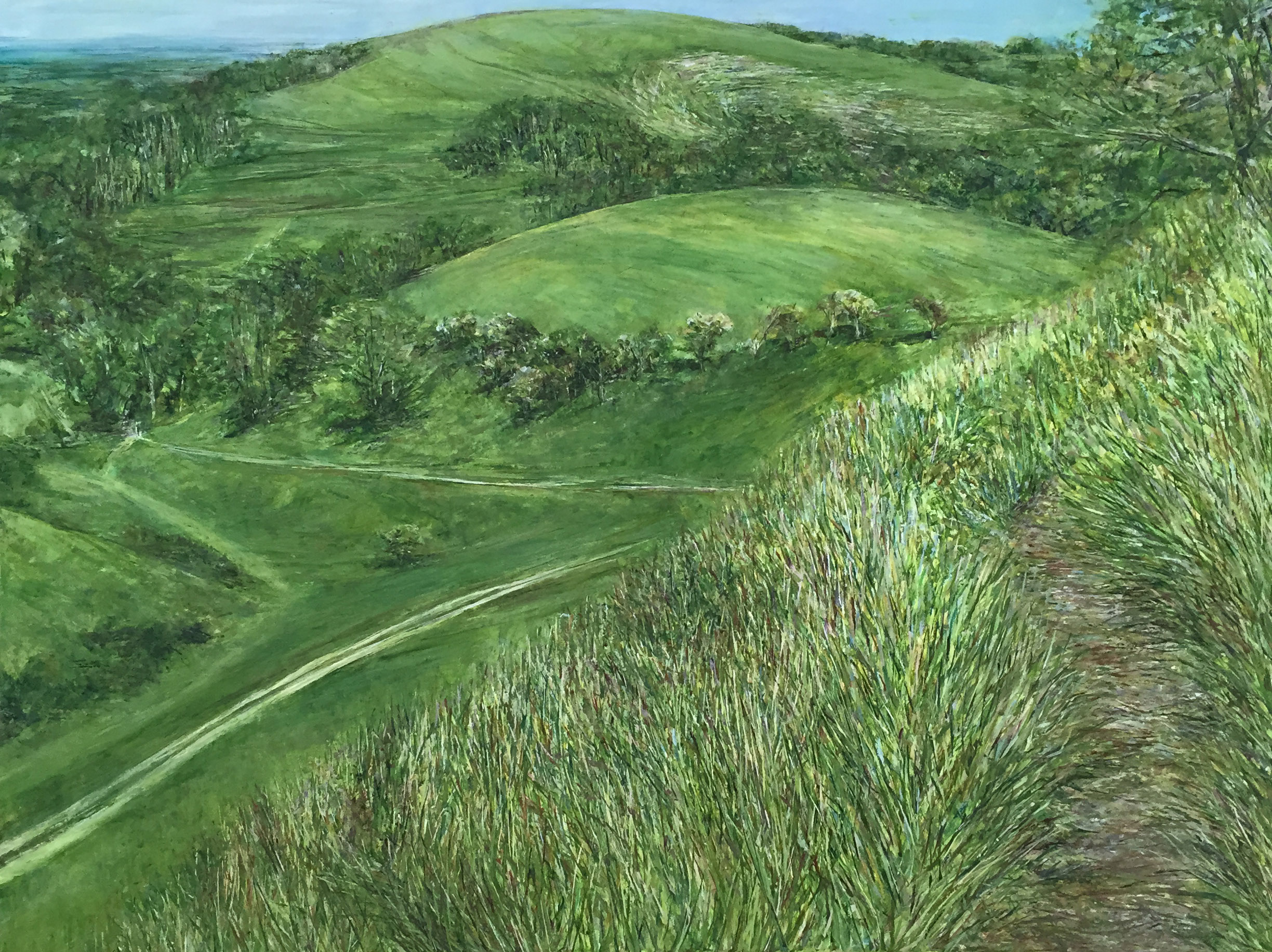 Pathway from Devil's Dyke - Oil Pastel and acrylic paint on canvas60cm x 80cmSOLD