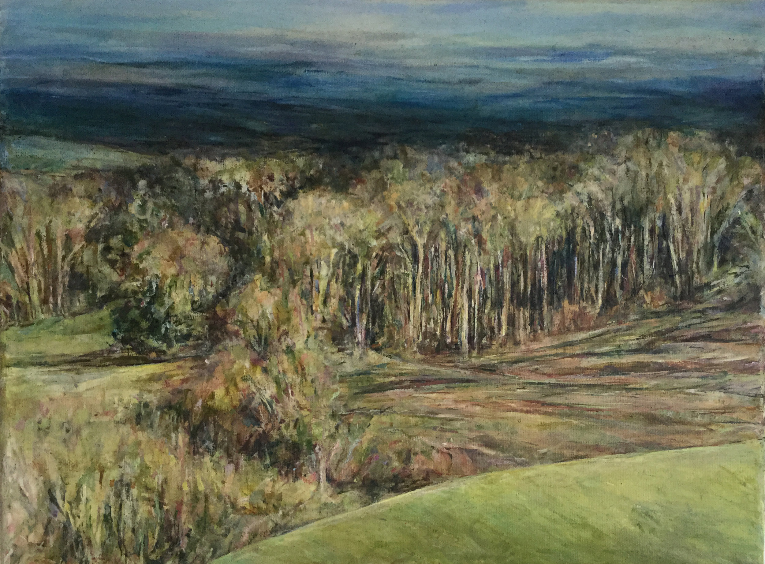 North and Newtimber Hills - Oil pastel and acrylic paint on canvas30cm x 40cm£450 unframed