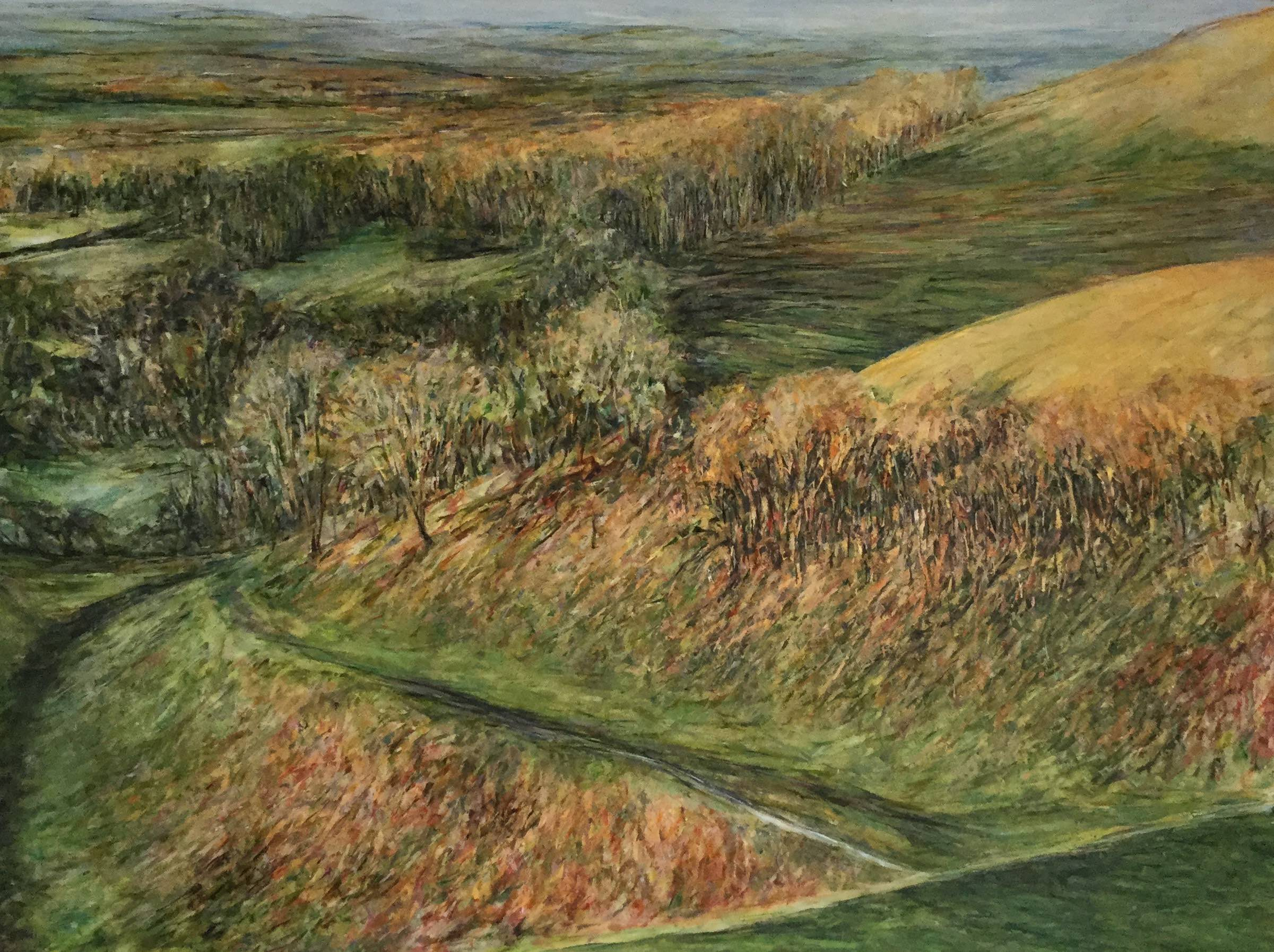 View from Devil's Dyke - Oil pastel and acrylic paint on canvas60cm x 80cmSOLD
