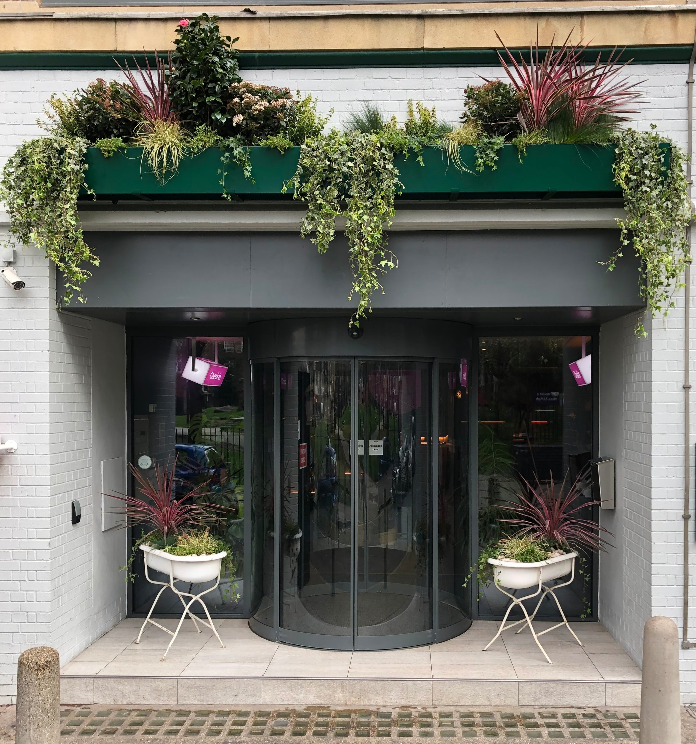Exterior/Outdoor plant arrangement for QBIC hotels in Whitechapel, London.