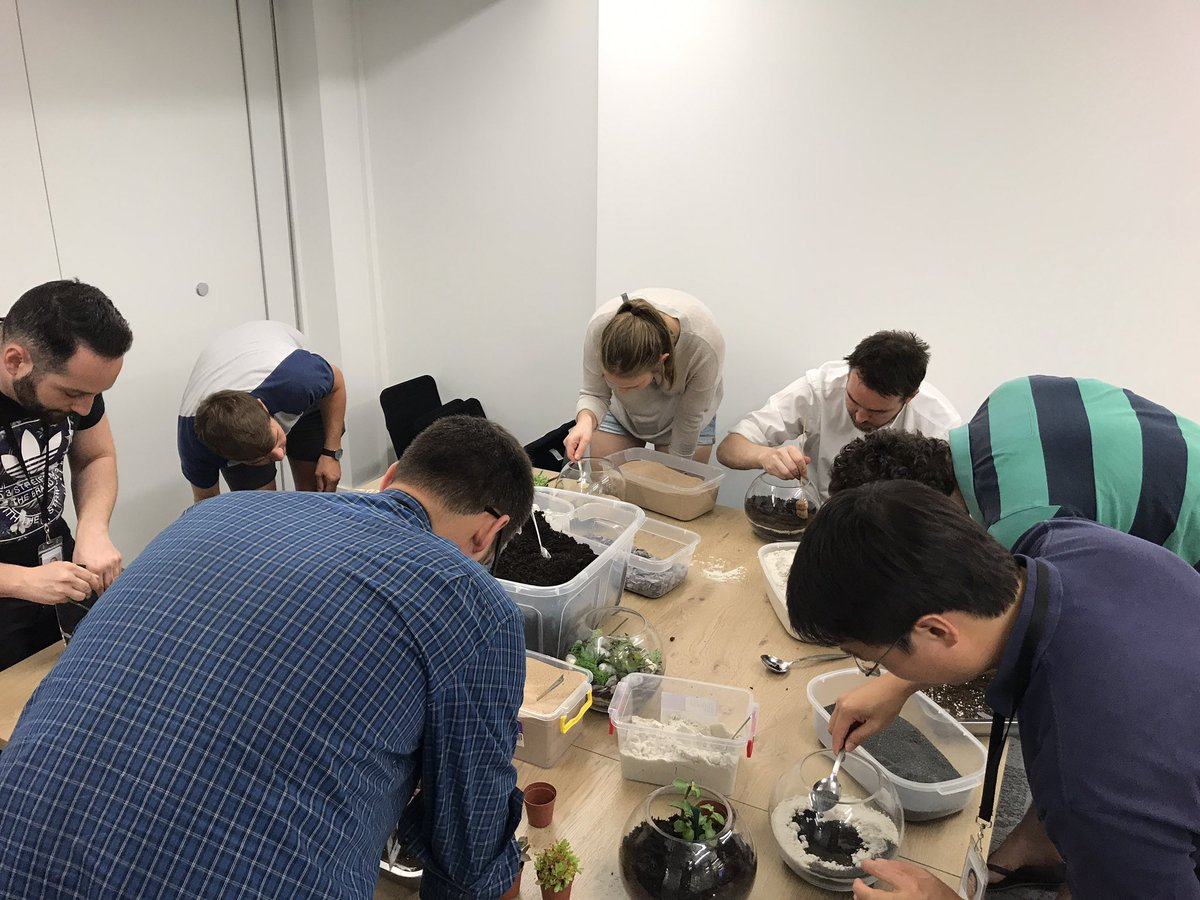 Snapchat team getting creative at their terrarium workshop in their london office.jpg