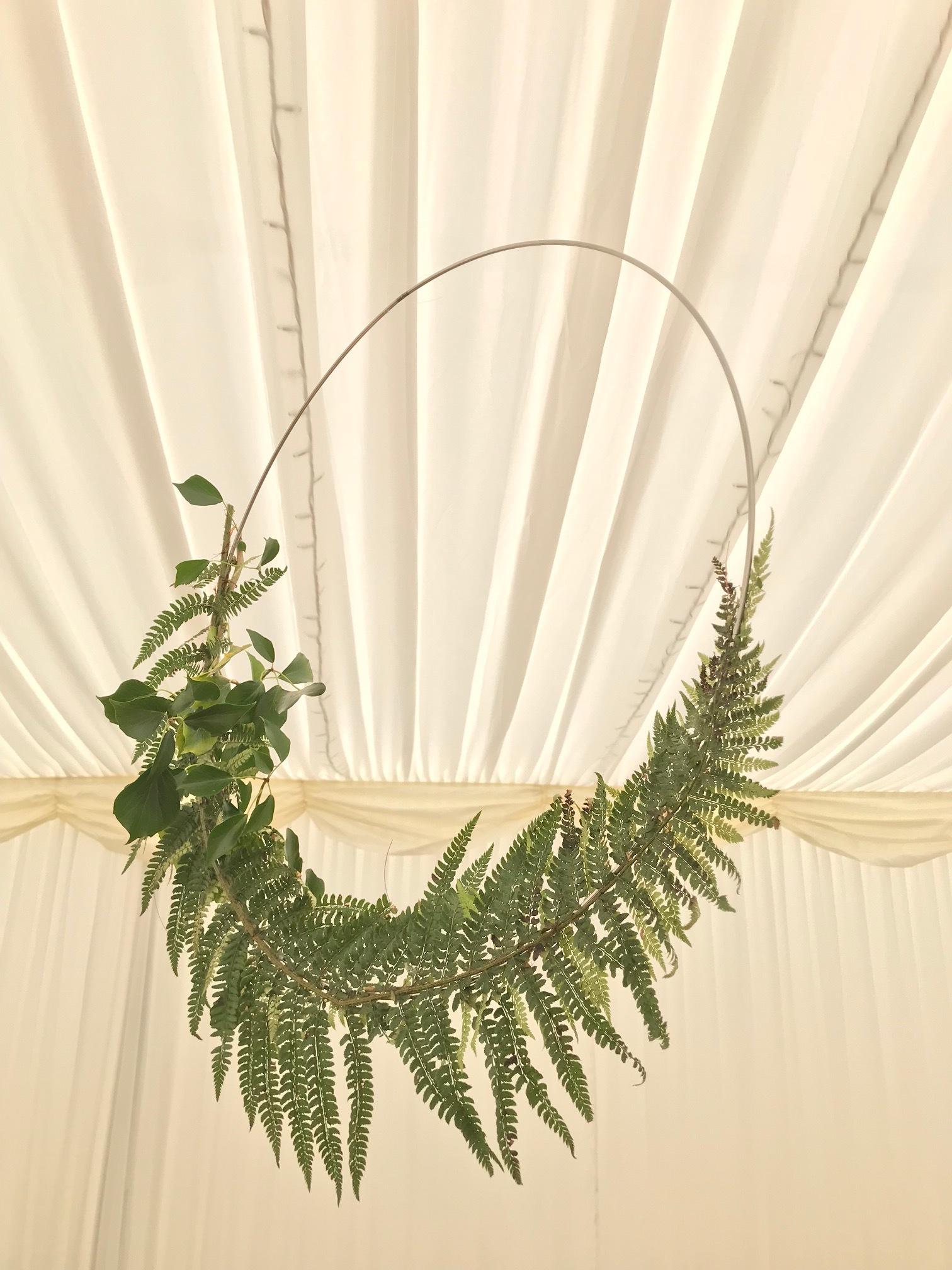 fern hoops, fern hoop decoration