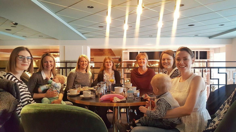 "The first ""work-along"" at Gretas, Haymarket in Stockholm on Feb 15, 2018. From left: Gina Ericsson, Anne-Chris Hedlund, Bärbel Dressler, Yvonne Kündig Gustafsson, Anna Hedeklint, Åsa Kax, Kristina Hultkrantz."