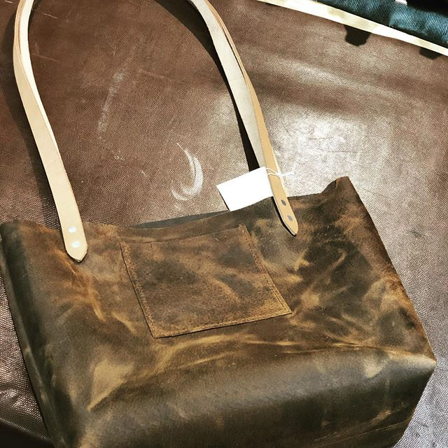 Newly hand stitched tote. Come check us out @ Dunkle leather#handmade#leather#tote