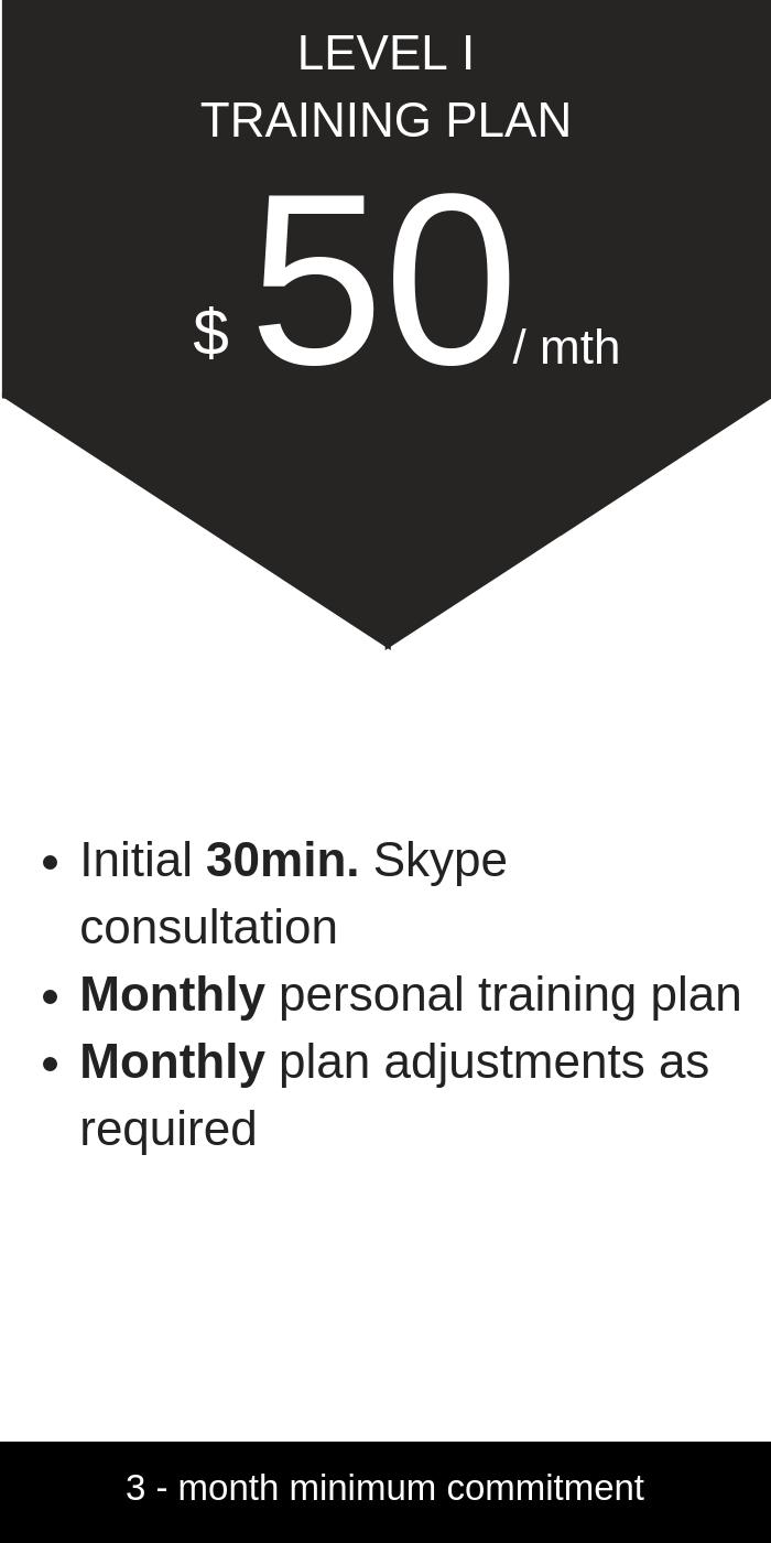 Level 1 Training Plan