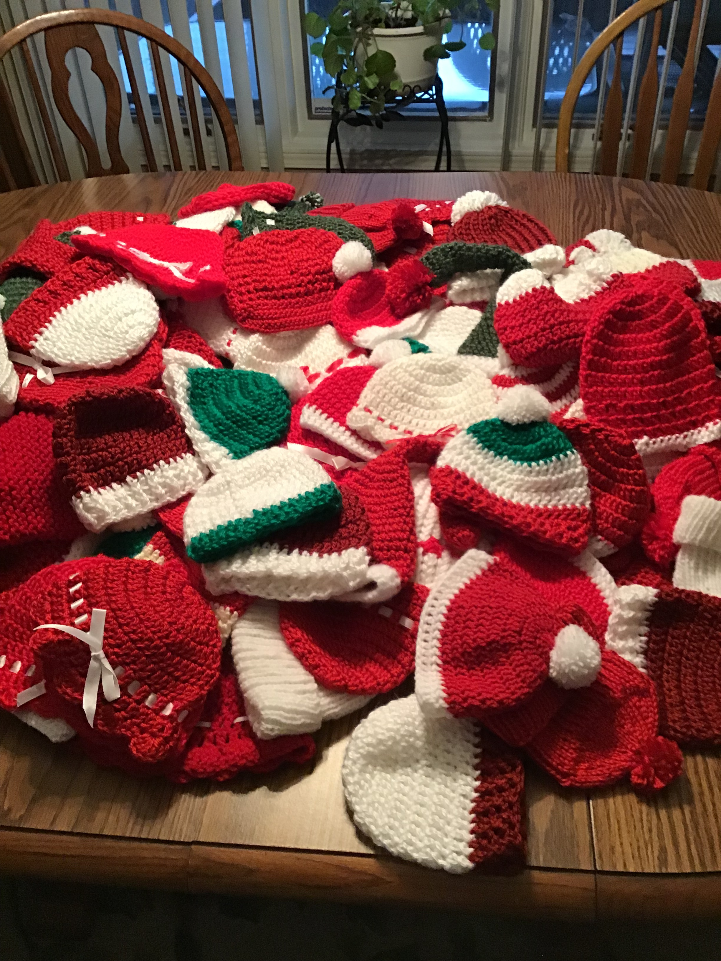 Baby hats made in Christmastime