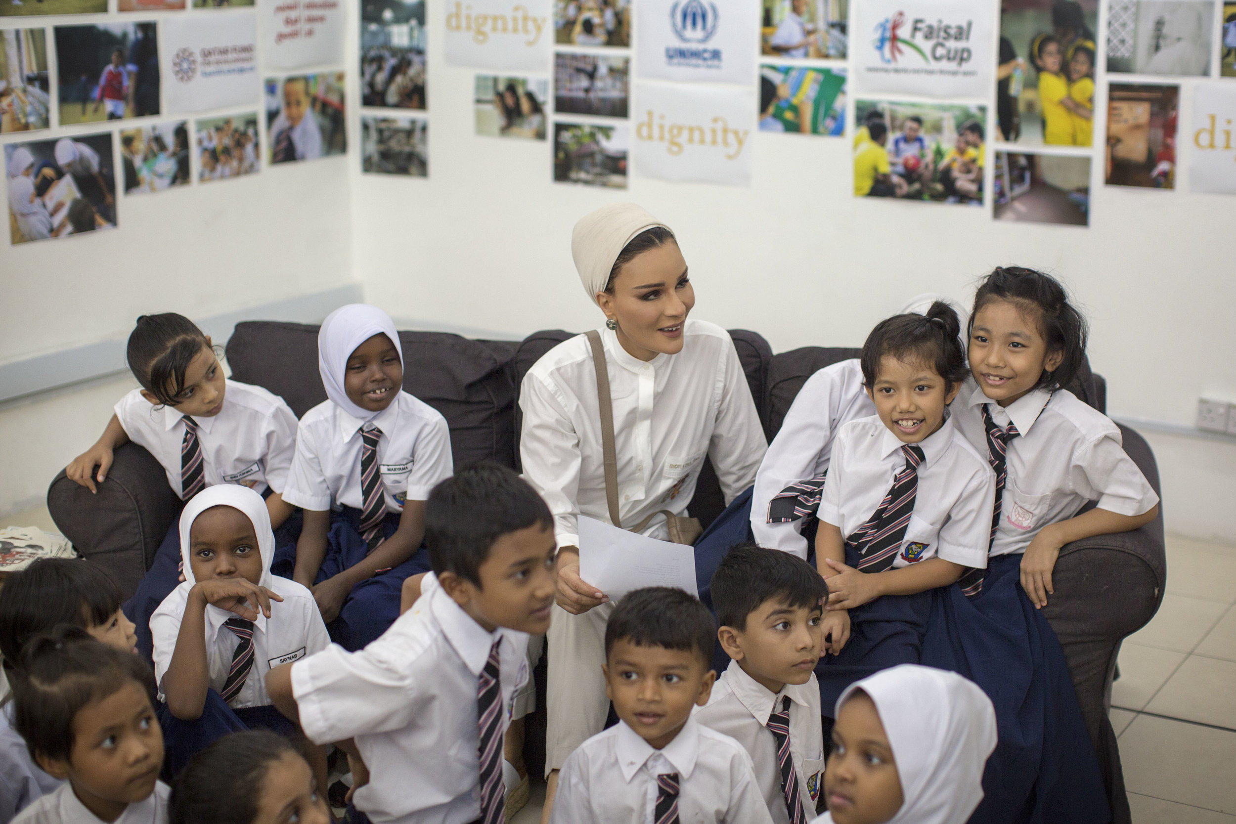 Her Highness Sheikha Moza bint Nasser at Dignity centre, one of 131 learning centers set up by Education Above All.