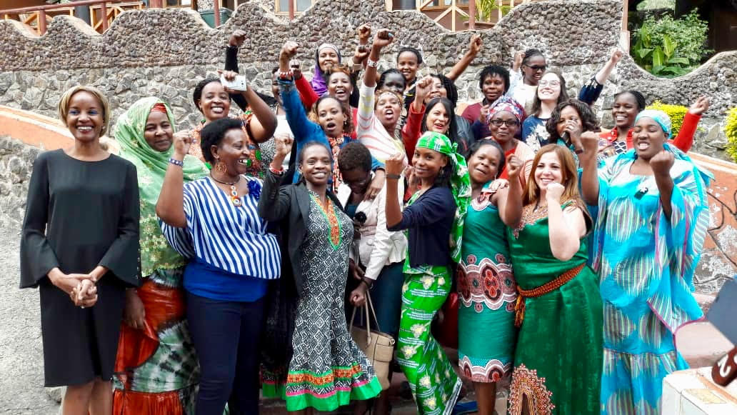 Hindou Ibrahim with indigenous women during an Indigenous Peoples of Africa Co-ordinating Committee (IPACC) meeting in Kenya. IPACC is a network of 150 Indigenous peoples' organisations in 20 African countries.