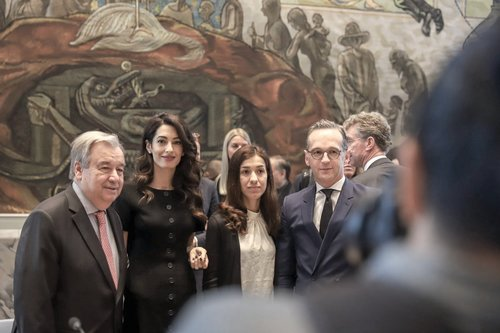 Nadia Murad with UN Secretary-General Antonio Guterres.