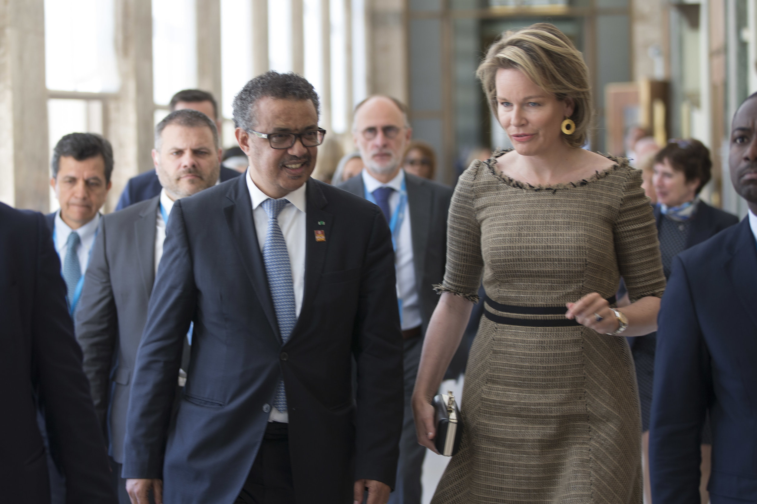 Dr. Tedros Adhanom Ghebreyesus, Director General of WHO (left) and Her Majesty Queen Mathilde of the Belgians (right) at the 72nd World Health Assembly in Geneva, Switzerland on 20 May, 2019.