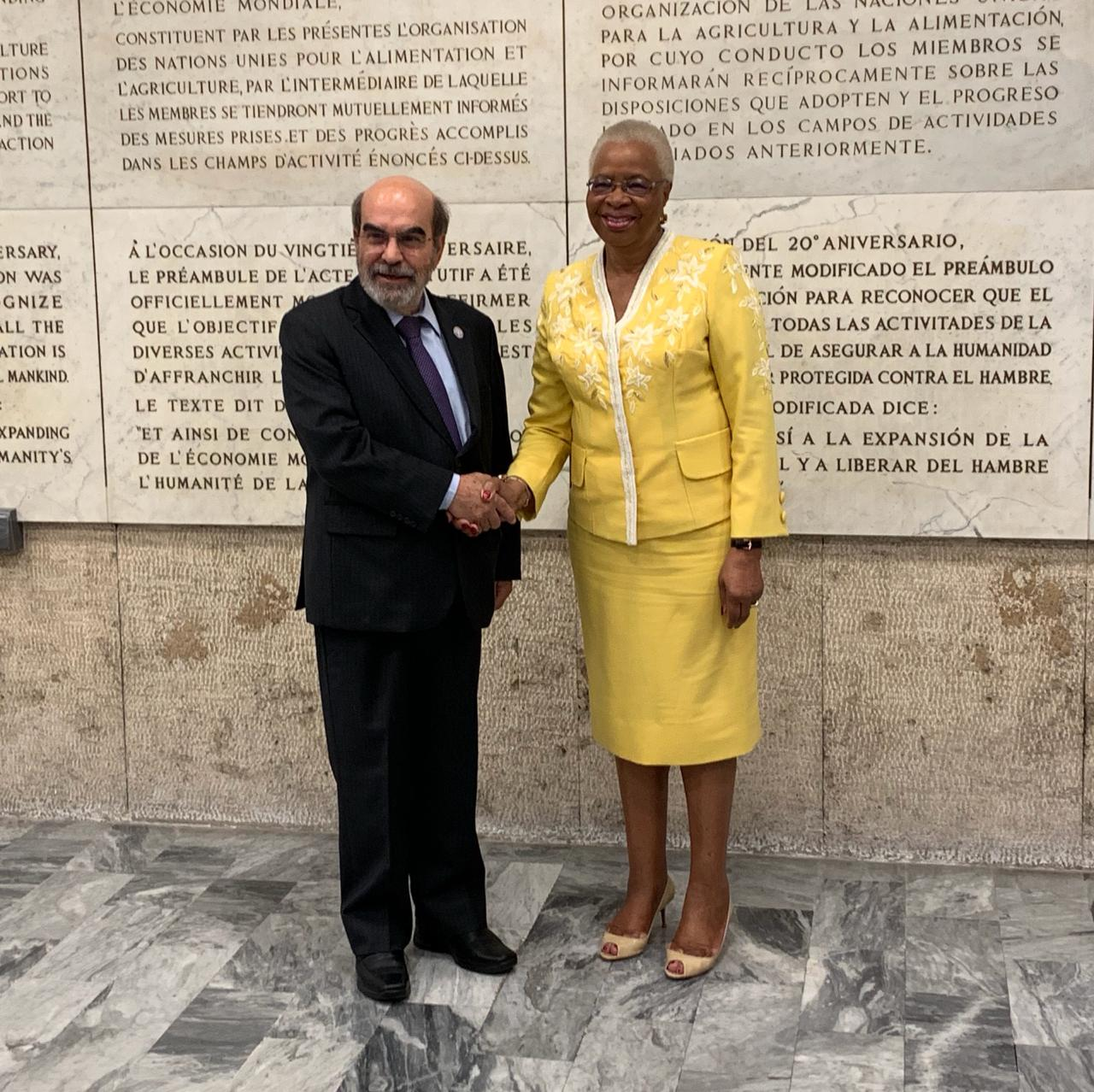 Graça Machel with Director-General of the FAO, José Graziano da Silva of Brazil. Mr. Graziano da Silva will be suceeded by Qu Dongyu of China on 1 August 2019.