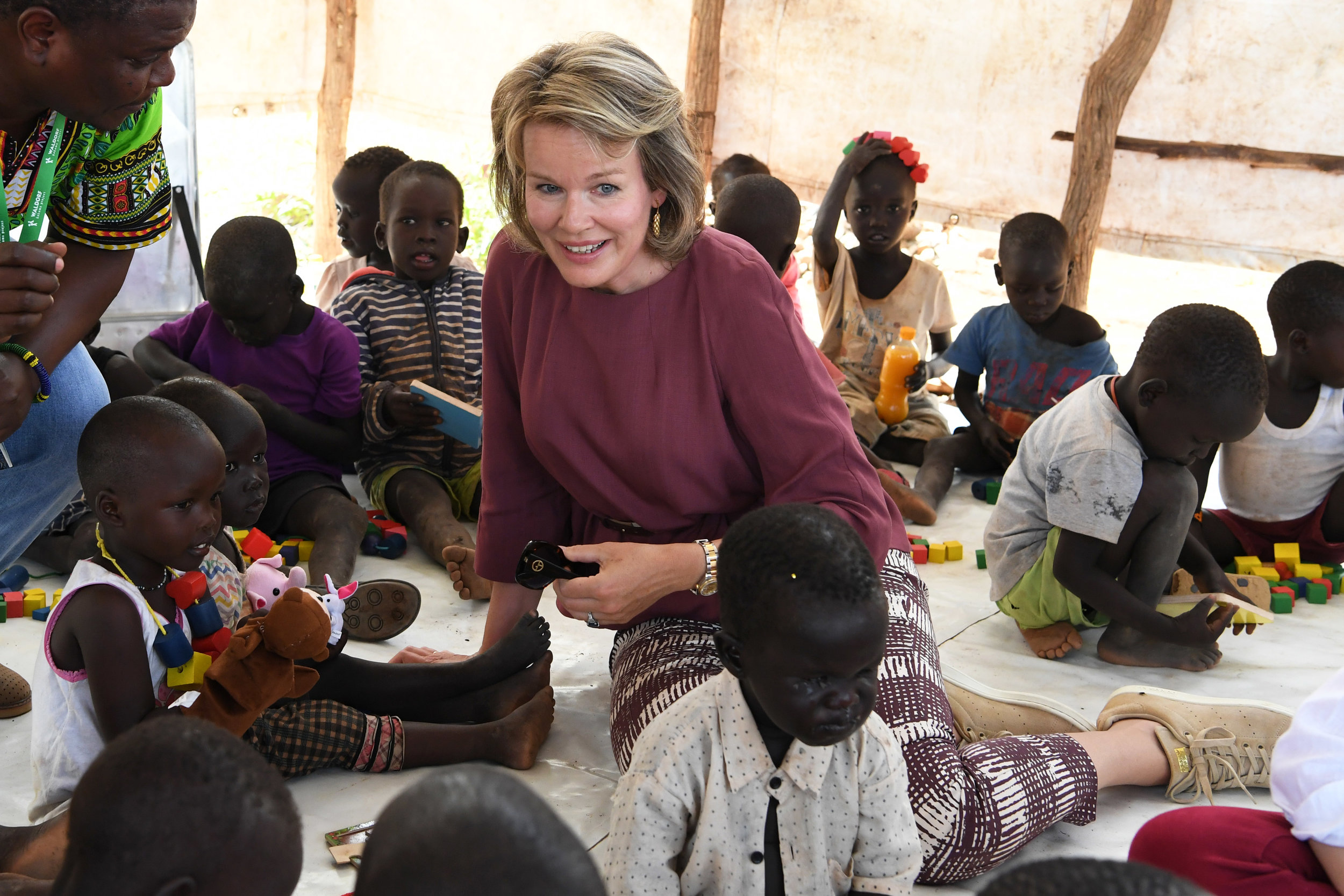 Her Majesty Queen Mathilde of the Belgians visits the Furaha Early Childhood Development Centre in Kenya.