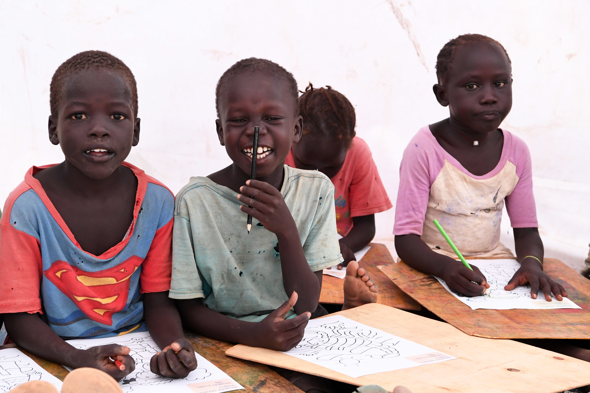 Refugee children in Kakuma Refugee Camp learning at the Furaha Early Childhood Development Centre.