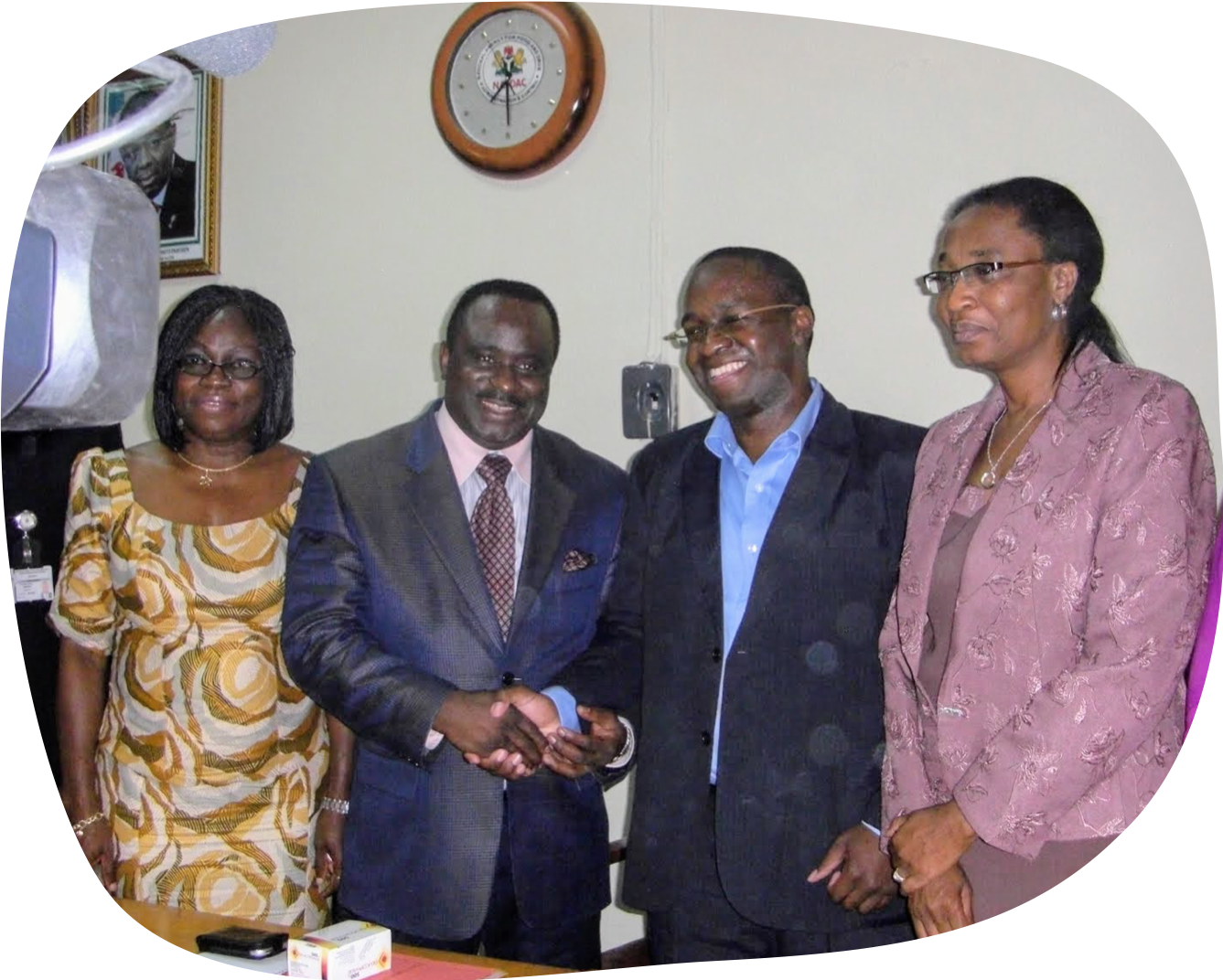 2010 NAFDAC Director General Dr. Paul Orhii (2nd from left) congratulates Sproxil CEO Dr. Ashifi Gogo (3rd from left) at the NAFDAC launch of the Mobile aAuthentication Service, alongside NAFDAC director Mrs. Keri (4th from left).