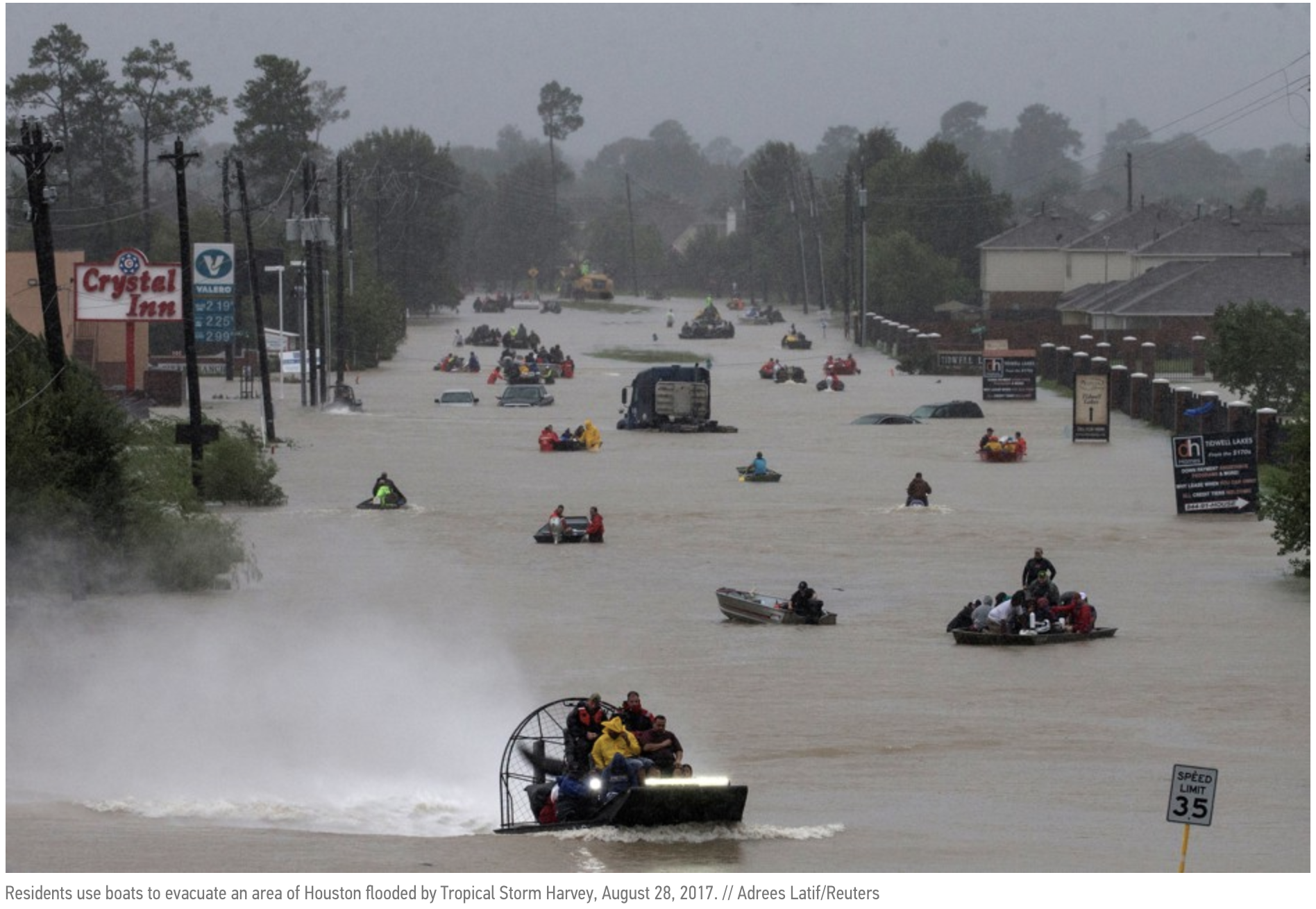 "- ""In a little more than two years, Harvey was the fifth 100-year rainstorm—weather so severe that each storm was expected to occur just once in 100 years under ""normal"" conditions."" – CityLab.com"