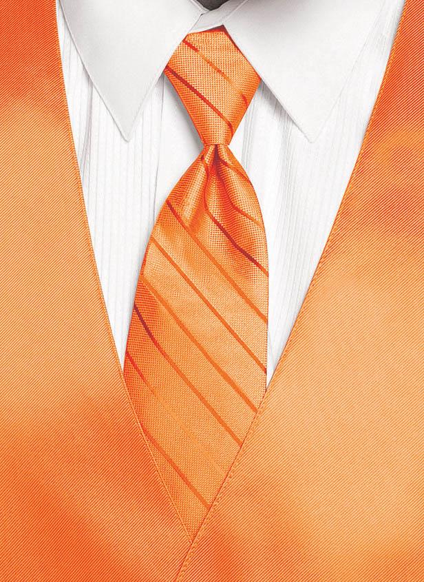 Neon Orange - Striped Tie