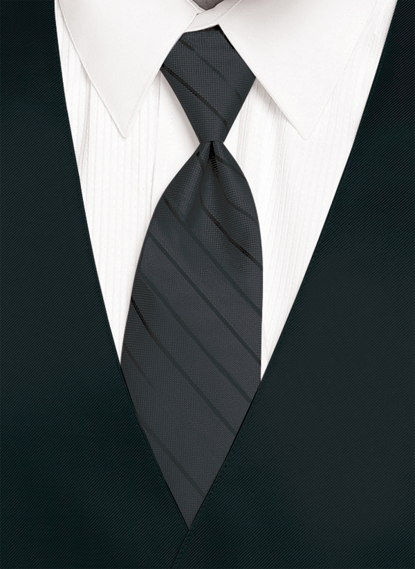 Charcoal - Striped Tie