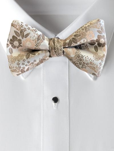 Floral Bow Tie - Sandstone