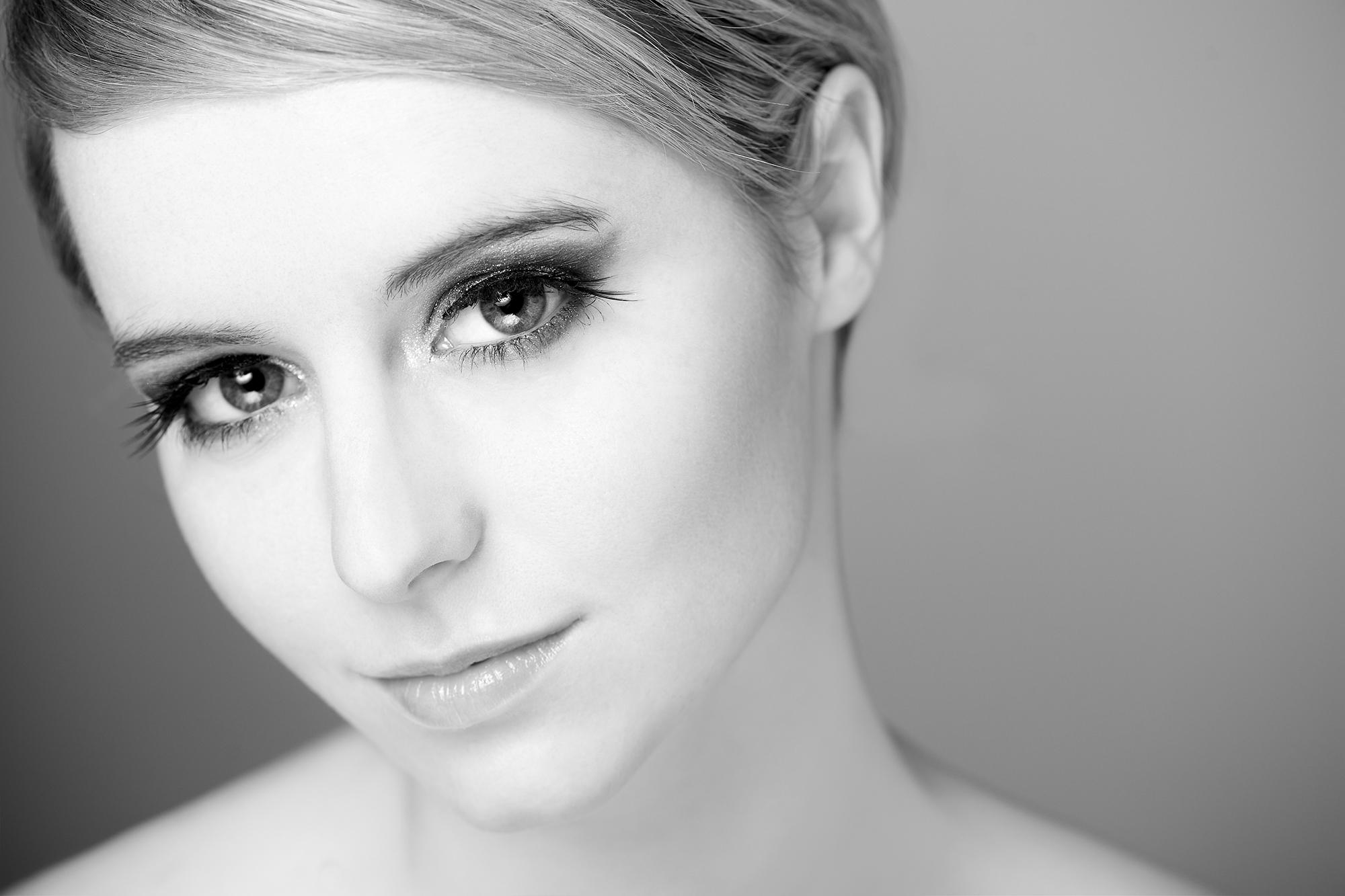 Black and white beauty portrait