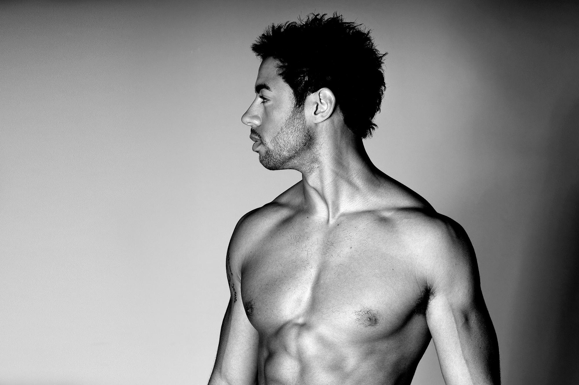 Topless male model