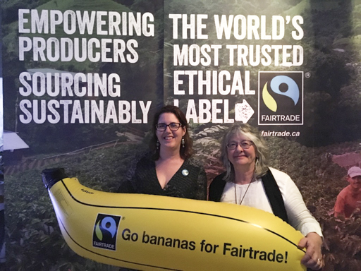 Erin Bird and Bev Toews of Fairtrade Olds representing Alberta at the Conference.