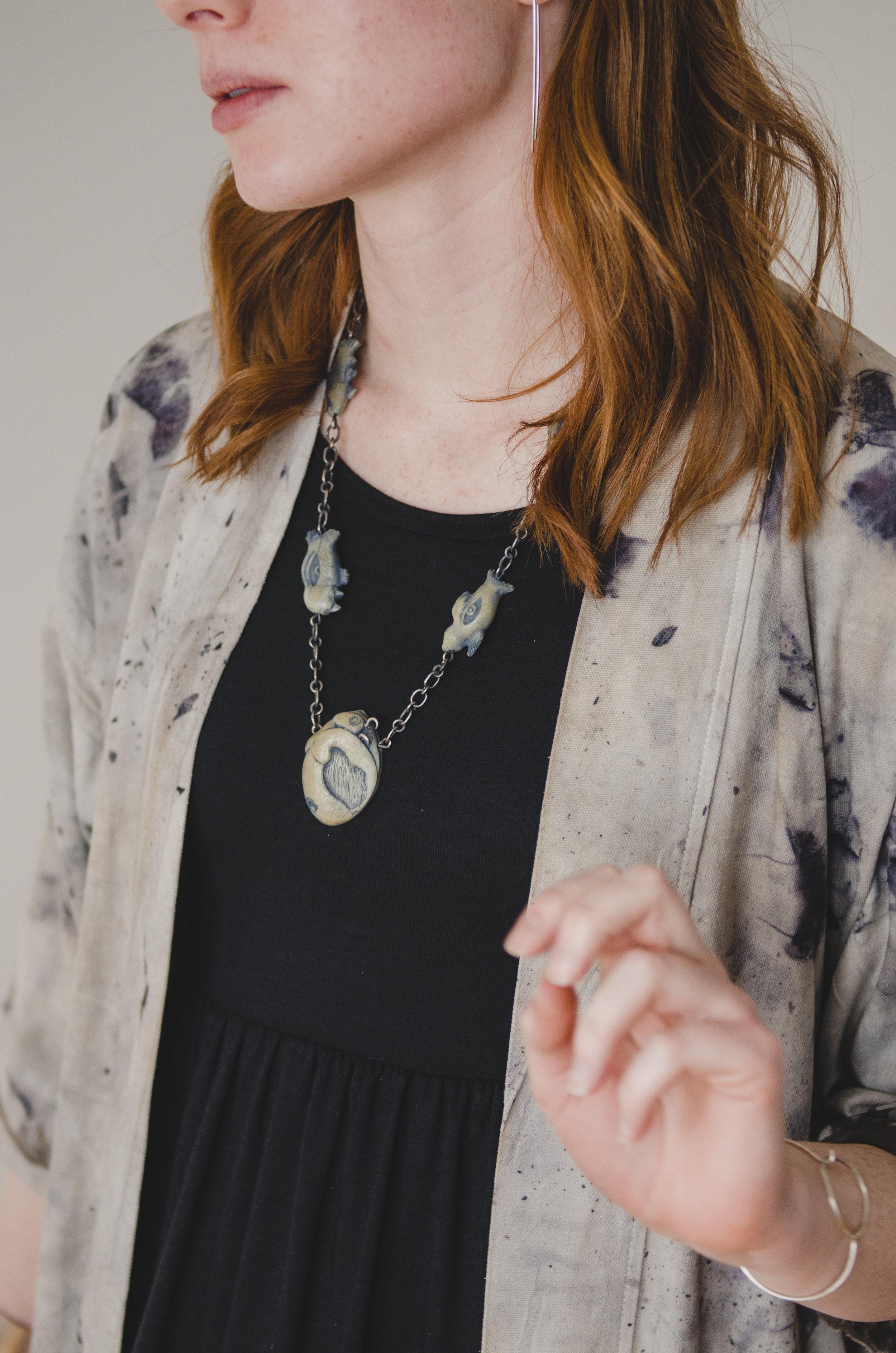 Ethical Ivory Necklace:  Shona Rae  Japanese-inspired Workwear Jacket: Irene Rasetti  Dress: Buttercream Clothing  Earrings & Bracelet: Kari Woo Tights: Riyoko  Photography:  Ally C Tran   Model:  Alexis Rose