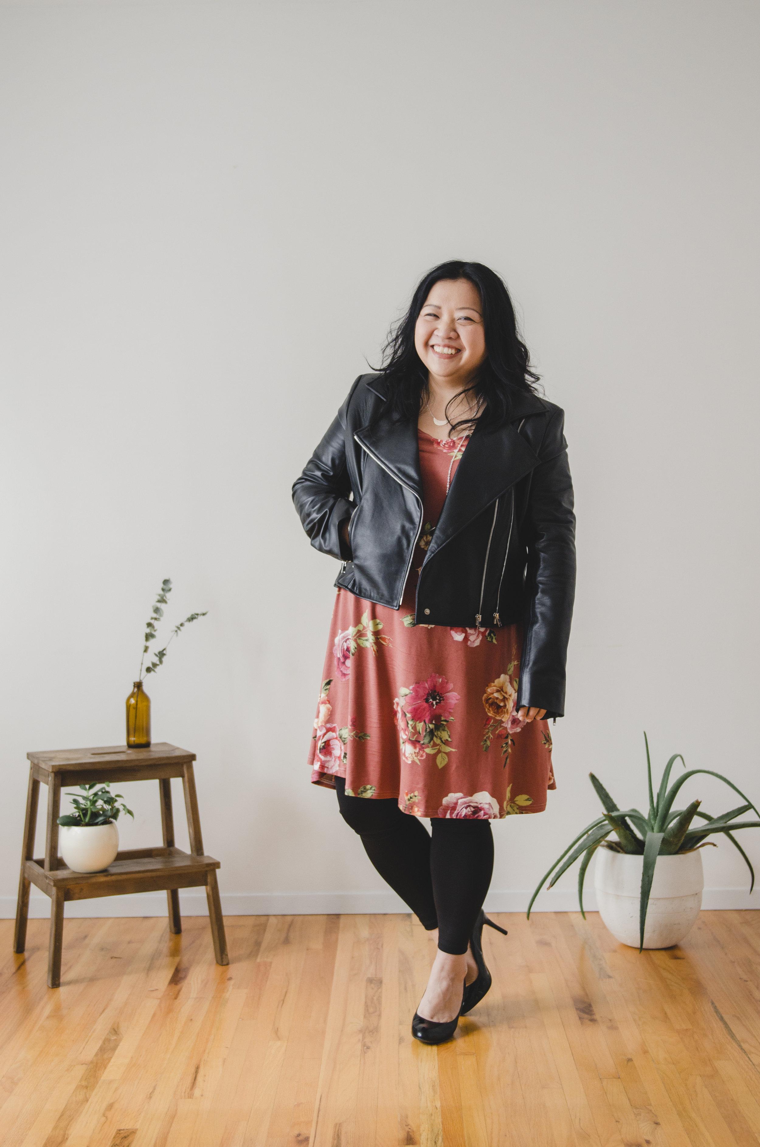 Long-sleeved Dress:  Kindred Clothing  Motorcycle Jacket:  Anneke Forbes  Jewellery:  Kari Woo  Tights:  Riyoko   Photography:  Ally C Tran  | Model:  Helen Youn