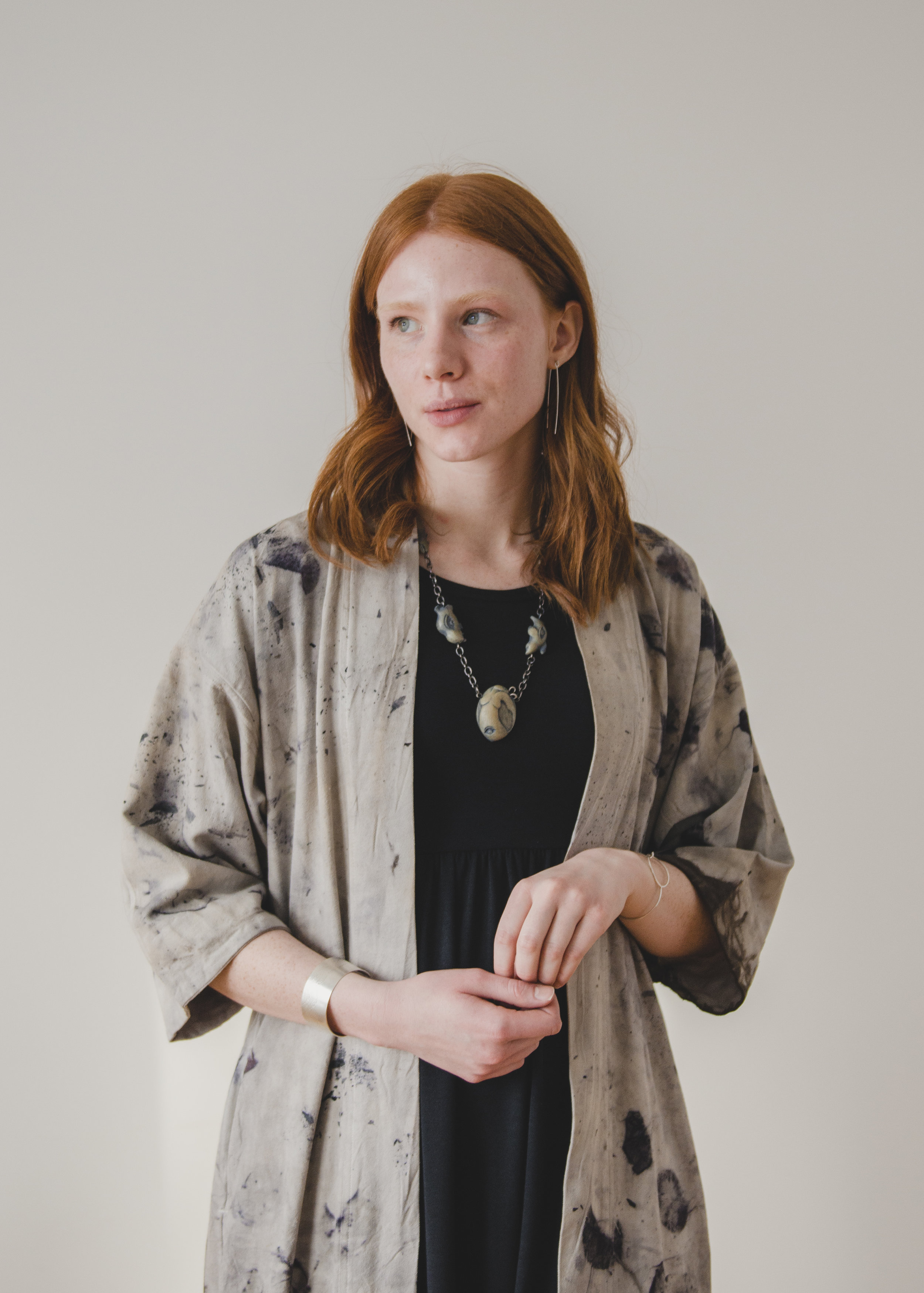 Japanese-inspired Workwear Jacket: Irene Rasetti  Ethical Ivory Necklace:  Shona Rae  Dress: Buttercream Clothing  Earrings: Kari Woo  Photography:  Ally C Tran   Model:  Alexis Rose