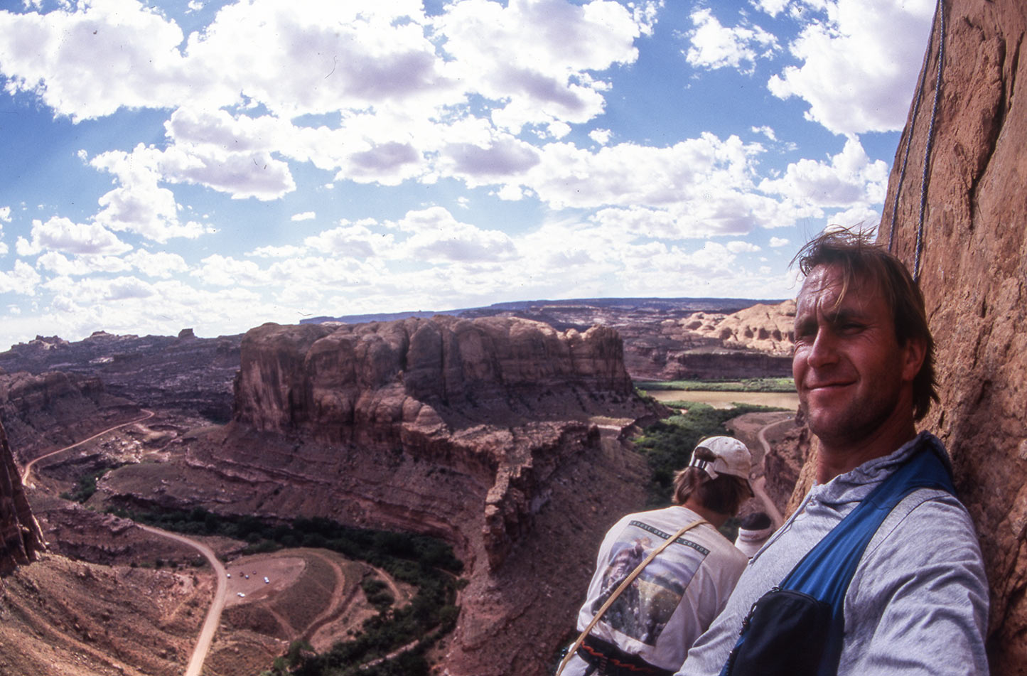Getting ready for a panoramic view action shot of climbers on the edge of Heaven in Moab/Utah.