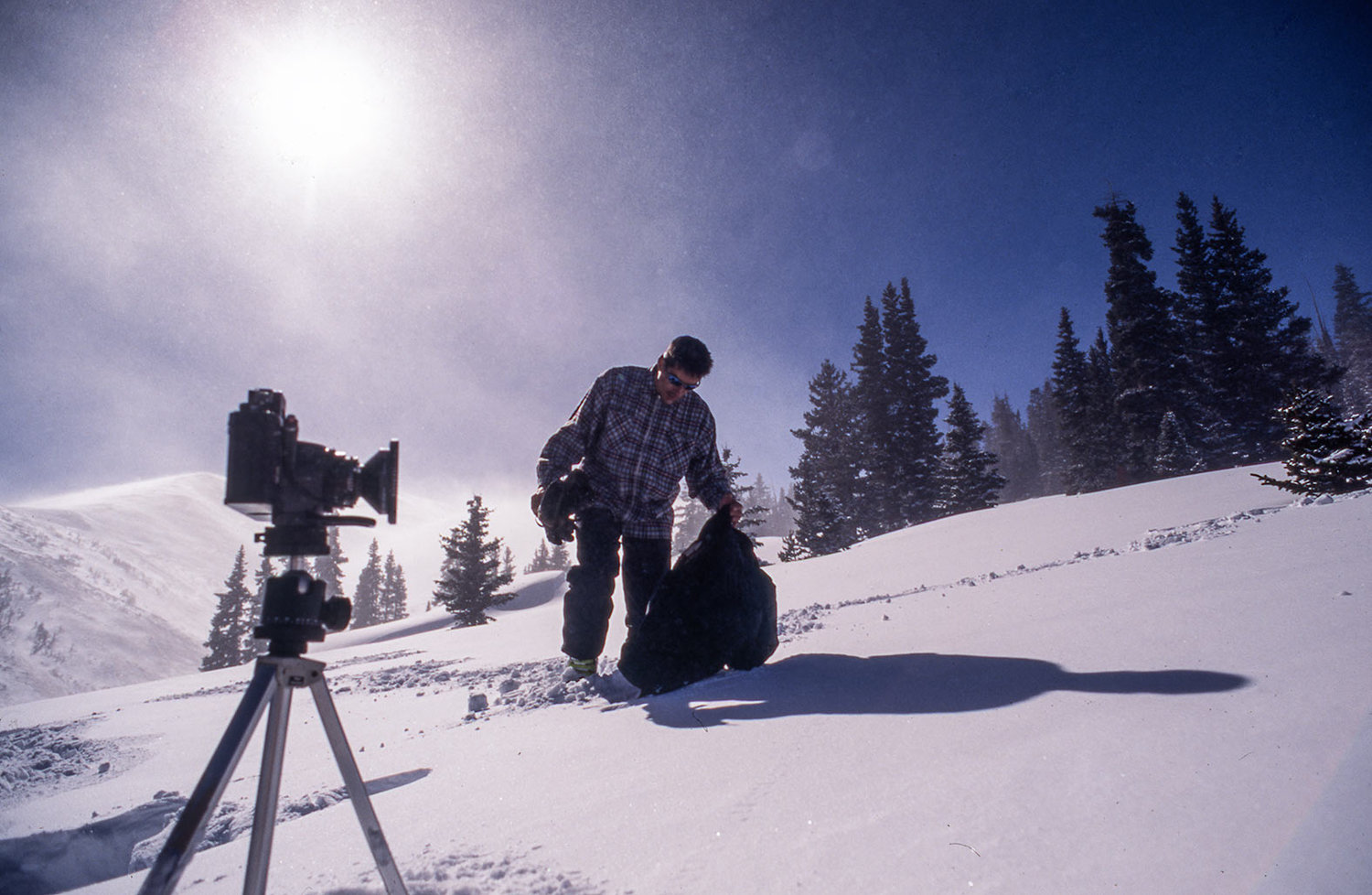 6x17 Linhof Panoramic analog camera getting prepared for a landscape/action shot with insane blue colors and fast clouds in Whistler Mountain / Canada