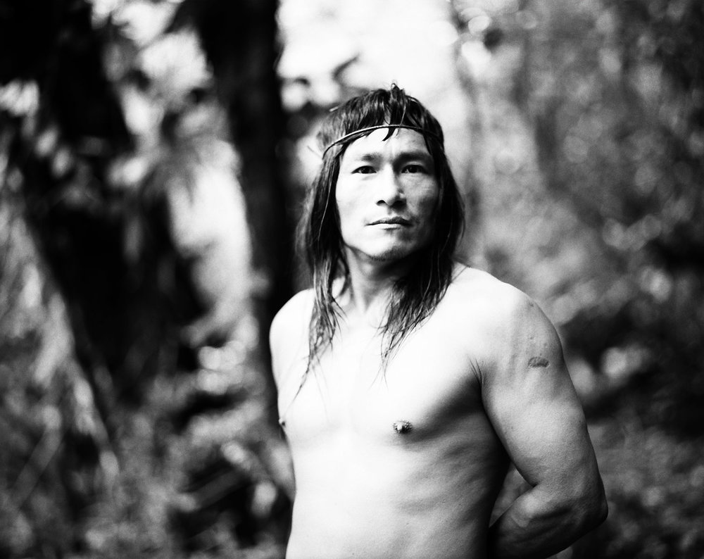 Chief Elias Papue of the tribe of the Chuars in his village Juvienza