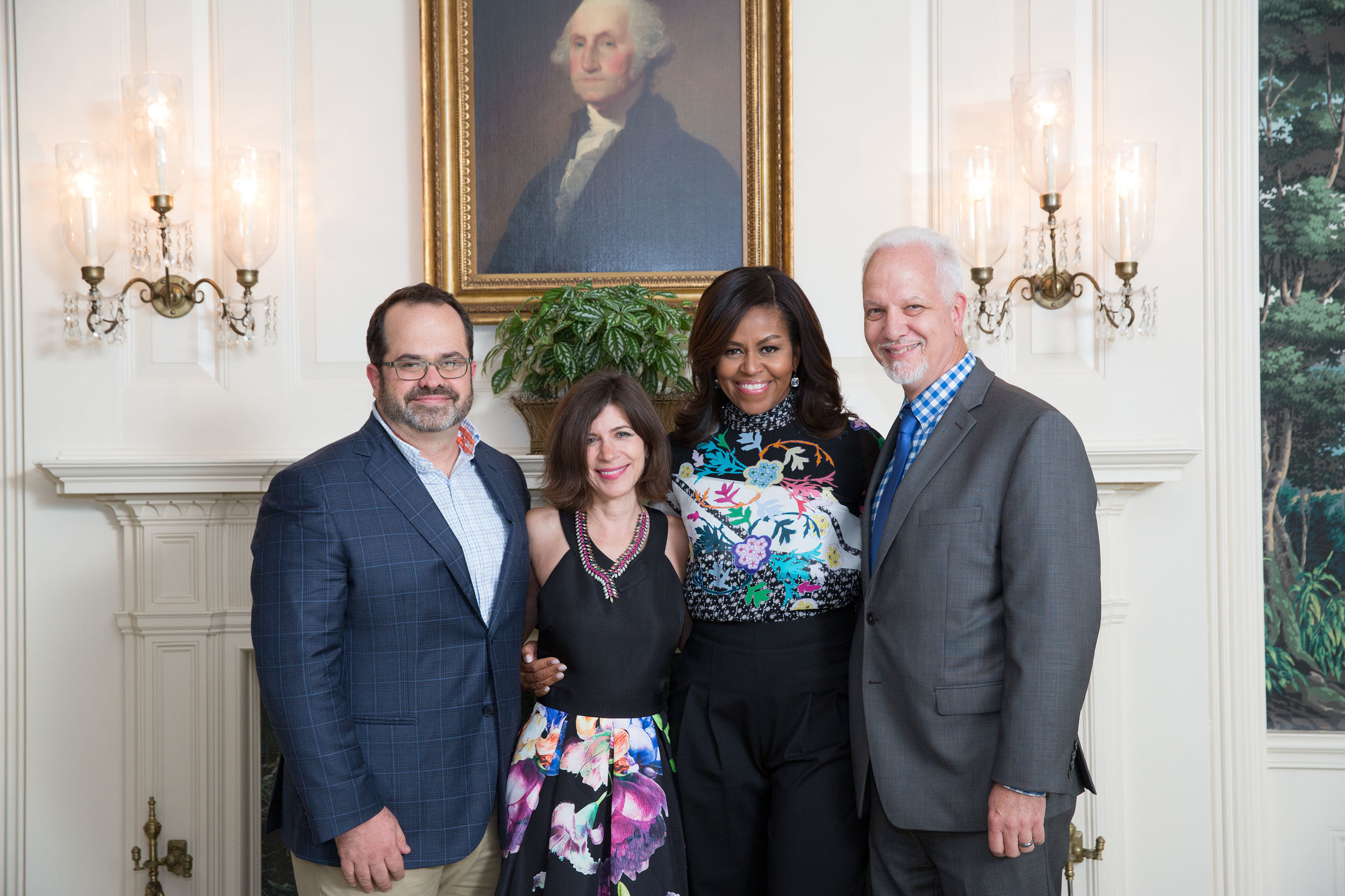 With Michelle Obama, Linda Olliver, and Michael Wilker in the White House.