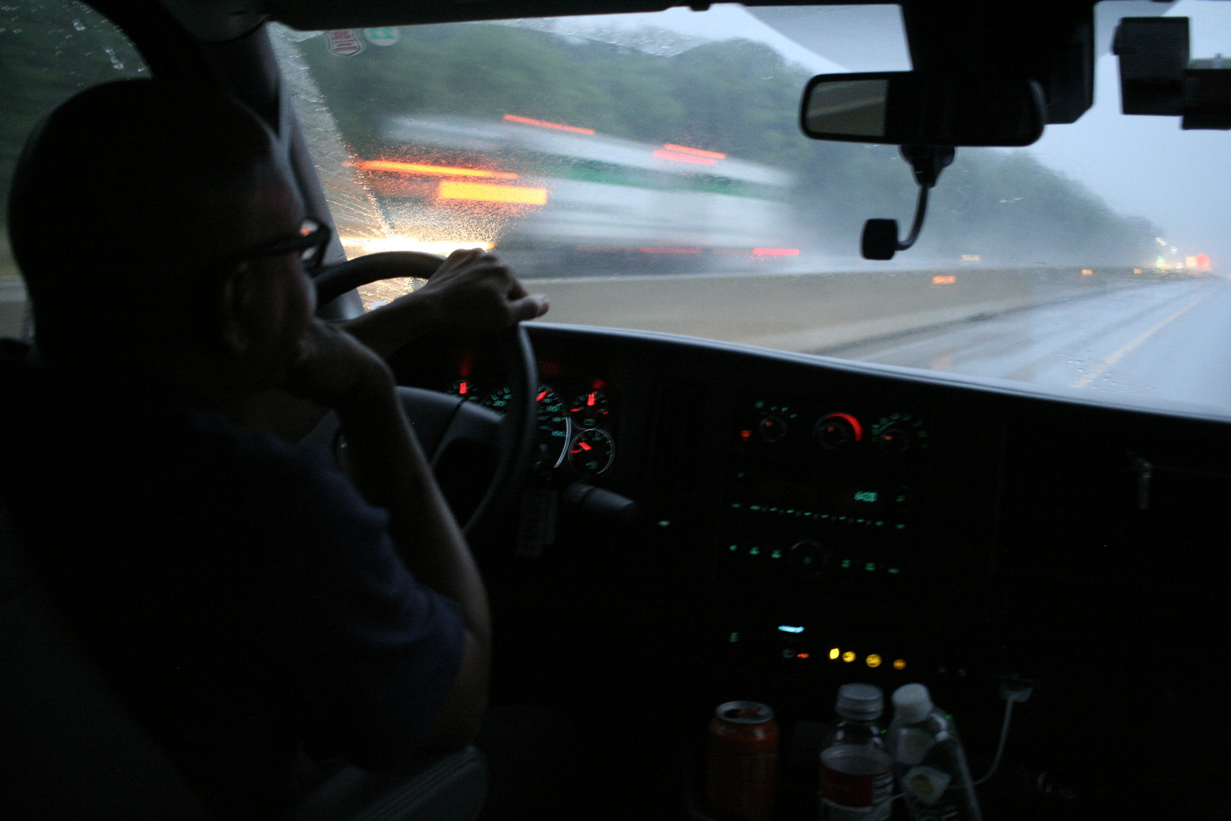 Rod took his turn driving during the worst of the rain.