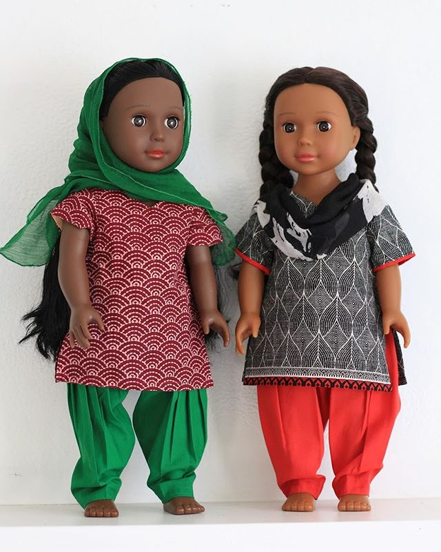 "Whenever we showcase or market our doll-sized Indian fashion, we are often asked: ""Do you sell Indian dolls too?"" After discovering that families weren't easily finding good Indian doll options for their kids, we set out on a search to find companies we could recommend to our customers the next time they ask where they can find beautiful Indian-looking dolls. Our favorite find so far is @ikuzidolls — just look how beautiful they are! (Dolls shown here are ""Medium brown skin tone with braided buns"" and ""Dark brown skin town with braided buns""). Ikuzi is an Igbo word from Nigeria that means ""to teach."" The founder, Ozi, created these dolls—with help from her daughters—in order to teach every girl to love who they are. What a perfect match for Seekna's Born Global clothing line--handmade fashion that helps kids learn about and love India. Thank you, Ikuzi Dolls, for giving us permission to transform two of your dolls into Indian models. We love the beauty you are creating and that you are helping people see in themselves! #ikuzidolls #docmonth #docmonth2019 #18inchdolls #18inchdollclothing #bornglobalbyseekna"