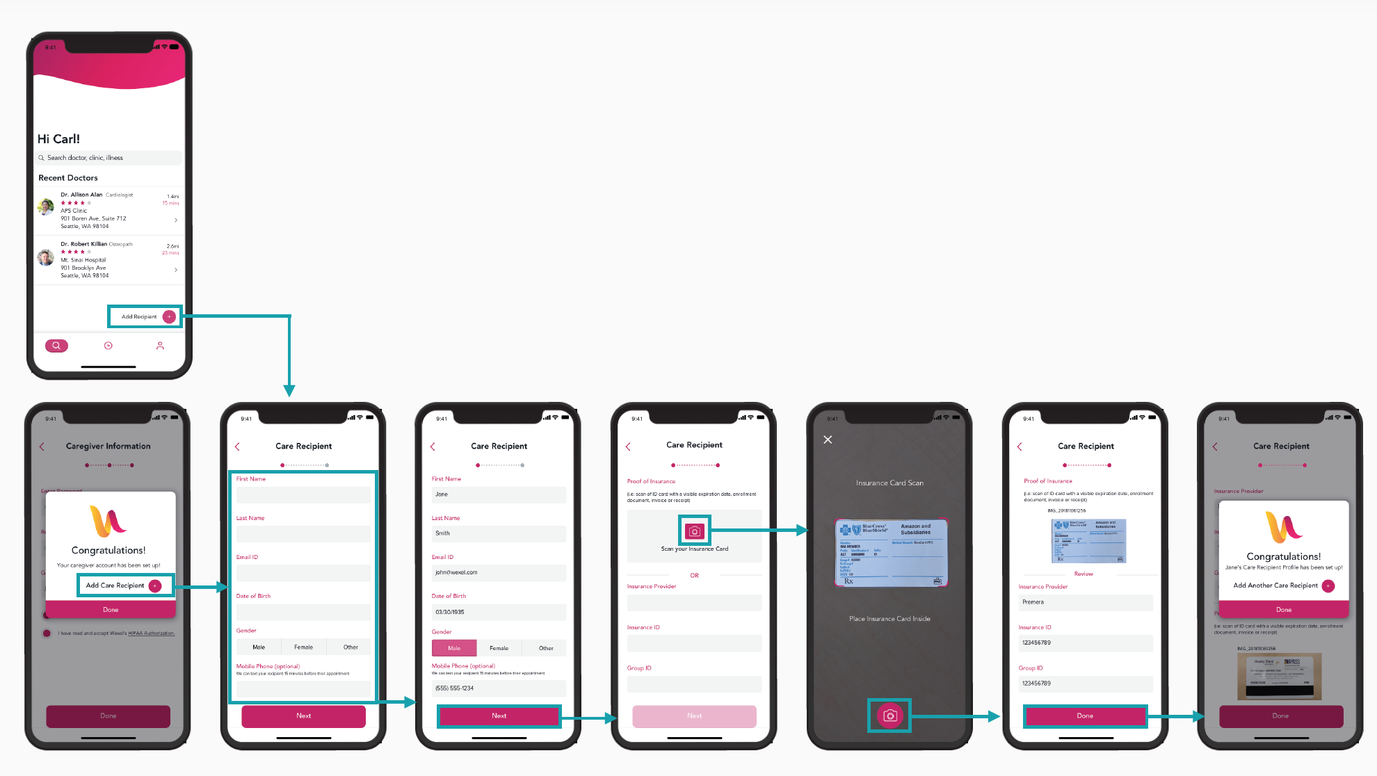 After the initial login, the user is taken through a series of steps to add a Care Recipient so they can start scheduling appointments for the person they are taking care of.