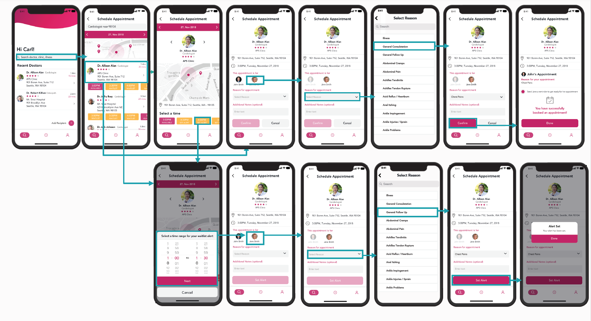 With Wexel, finding and booking an appointment is simple. User can identify the doctor or clinic where they would like to receive care and move through a short series of steps collecting pertinent information for the doctor up front and can be tailored to the user to get the right care.