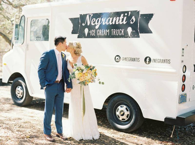 Ice Cream Truck - This dessert option is picture perfect! Wow your guests with amazing presentation & a photo moment! Also, did we mention it is DELICIOUS!Credit: The Wedding Standard California